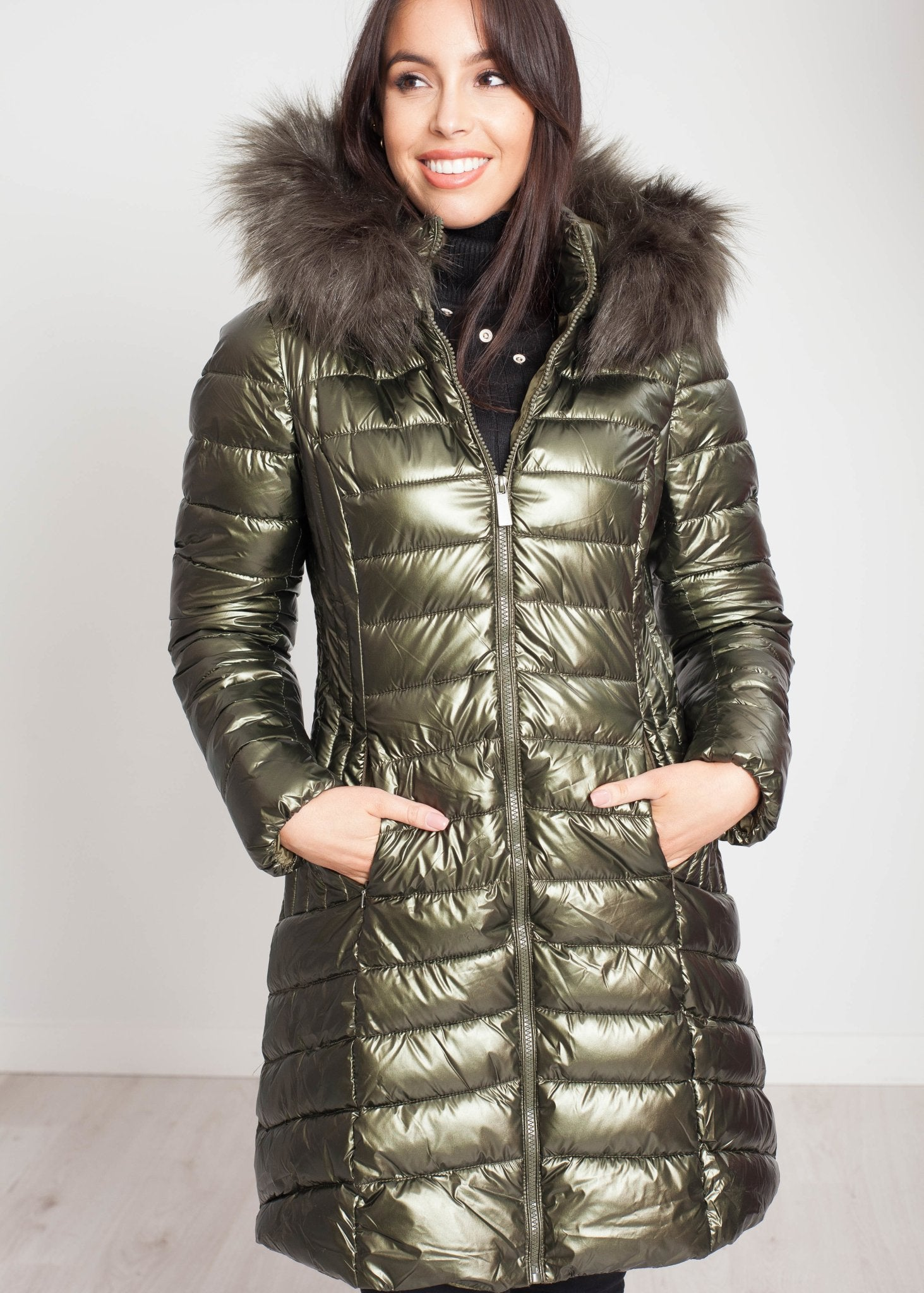 Jayme Quilted Coat In Khaki - The Walk in Wardrobe