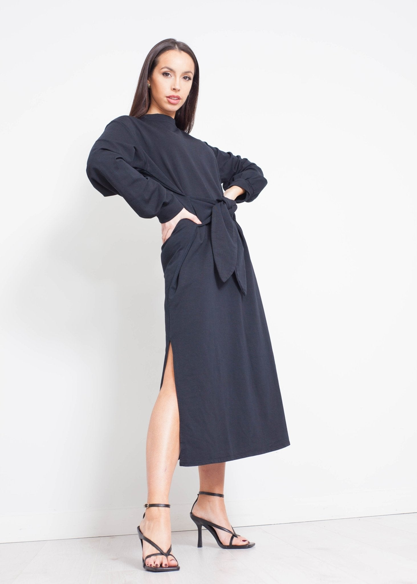 Jayme Tie Waist Dress In Black - The Walk in Wardrobe
