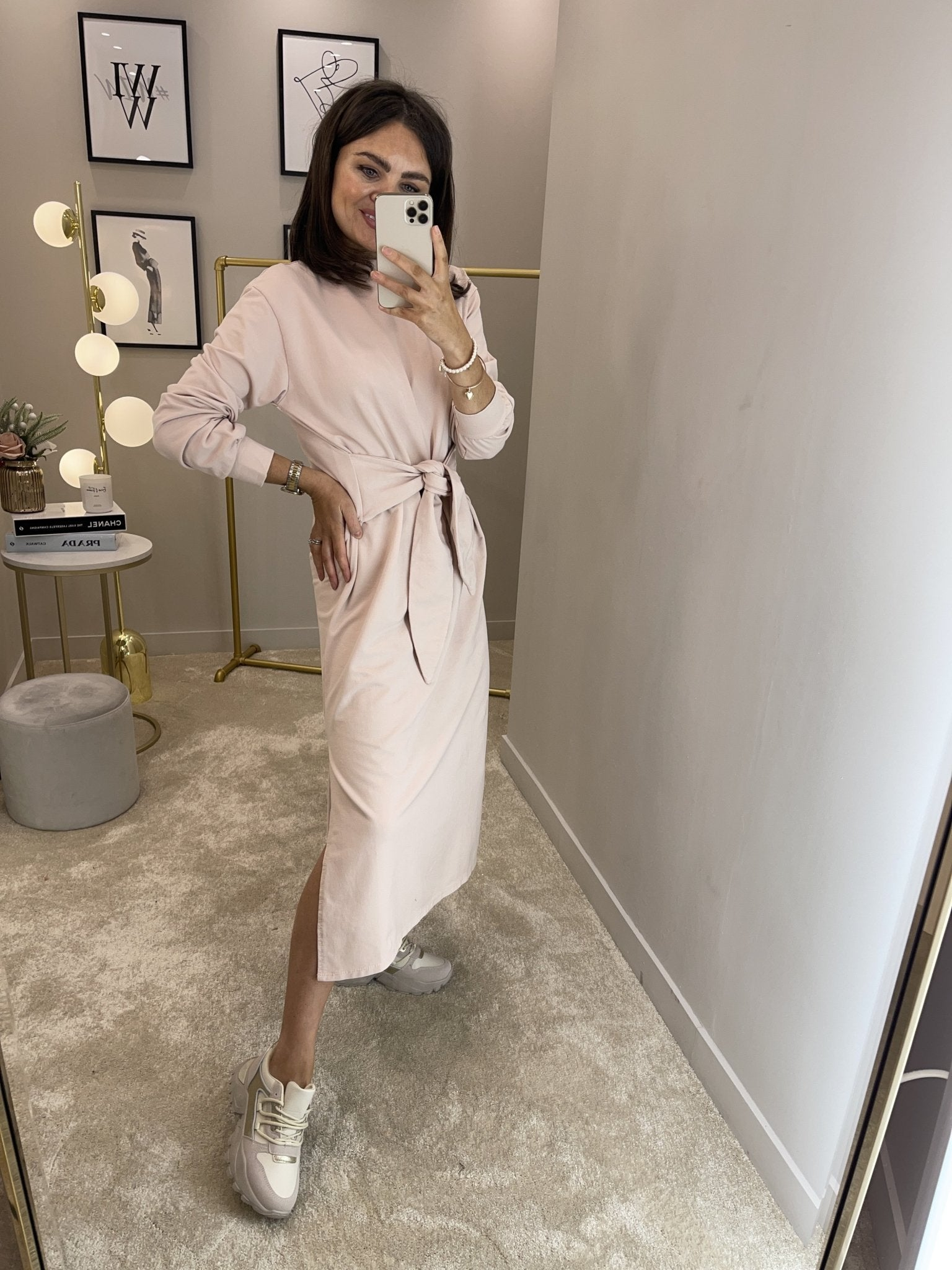 Jayme Tie Waist Dress In Blush - The Walk in Wardrobe