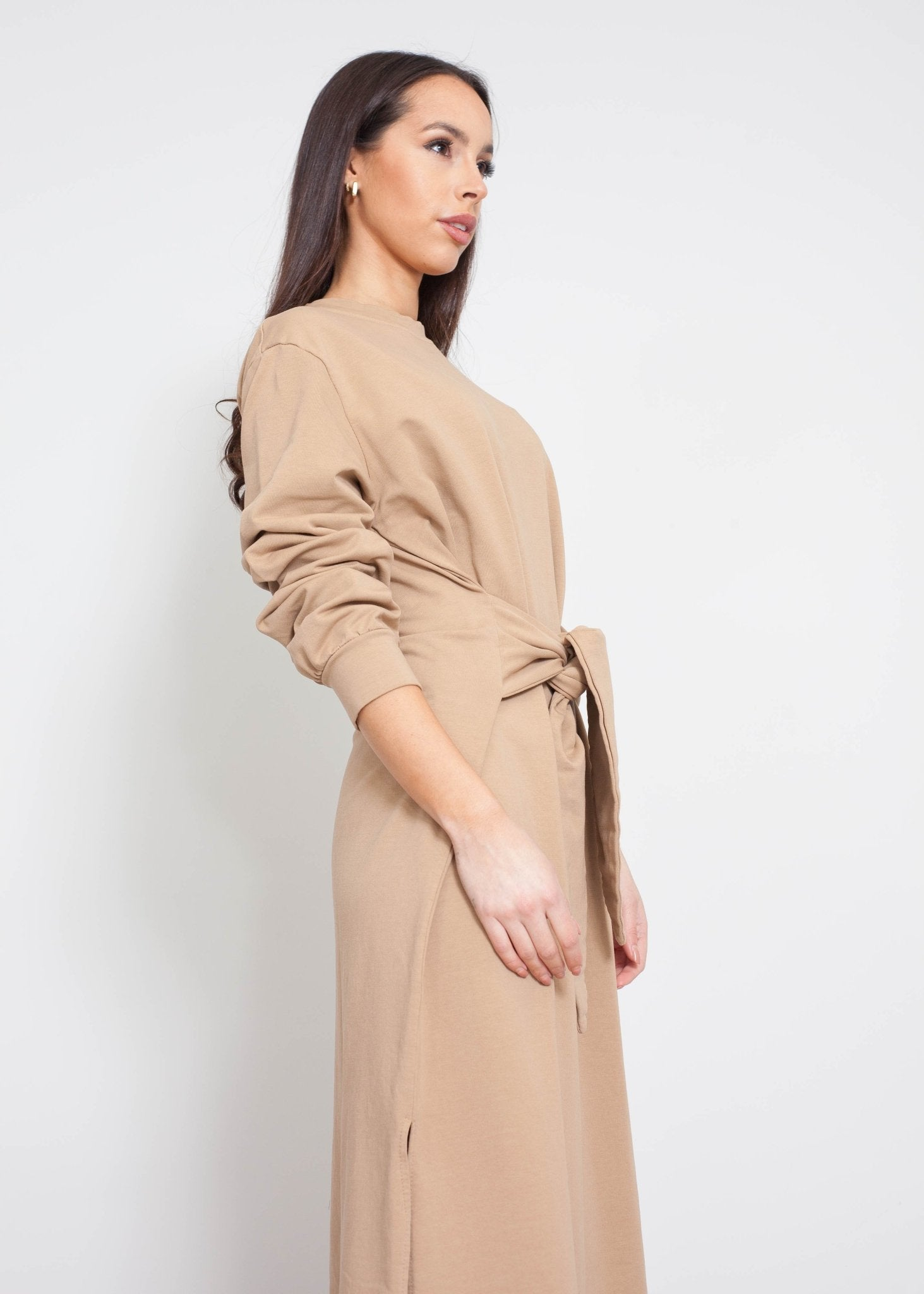 Jayme Tie Waist Dress In Camel - The Walk in Wardrobe