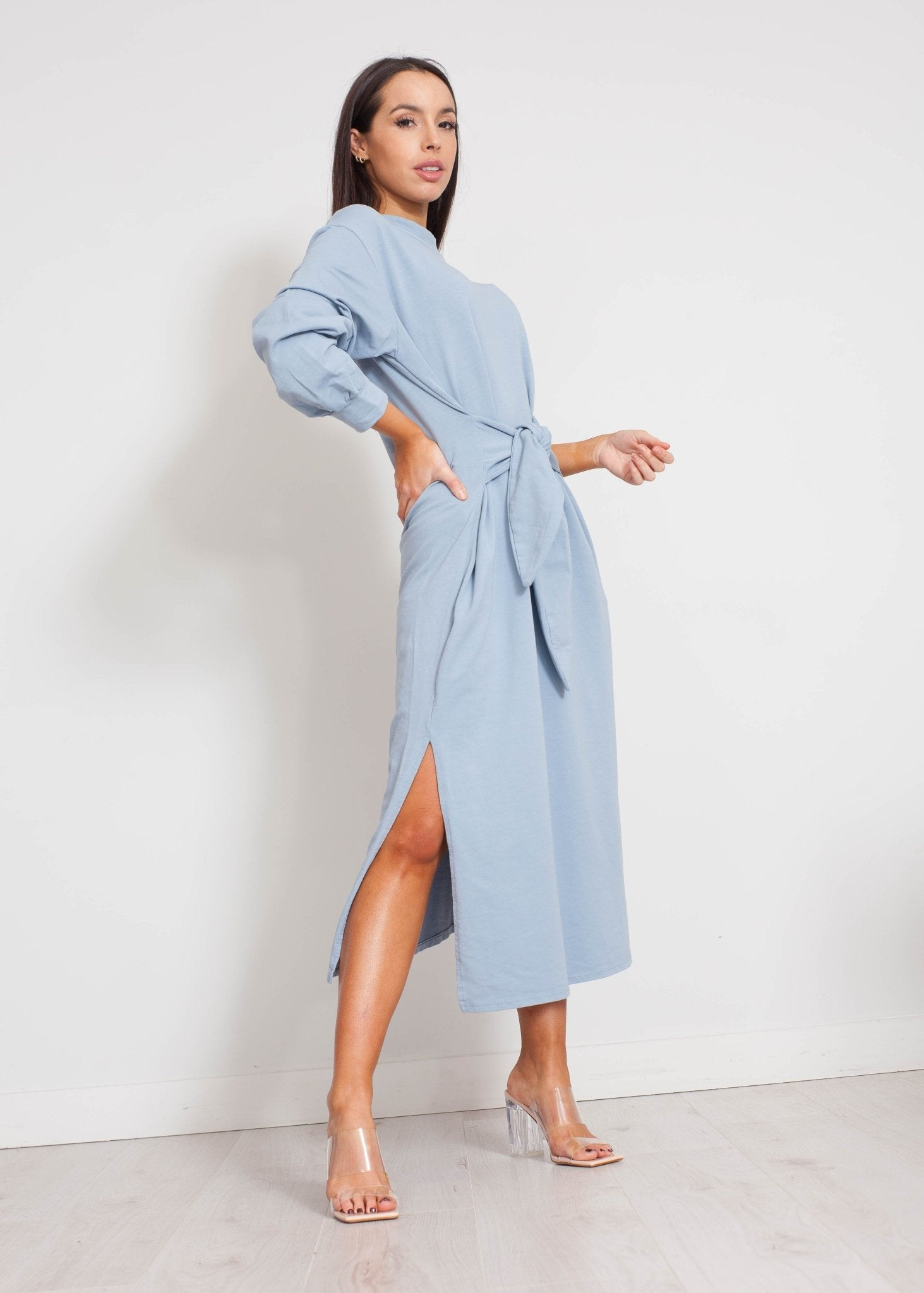 Jayme Tie Waist Dress In Slate Blue - The Walk in Wardrobe