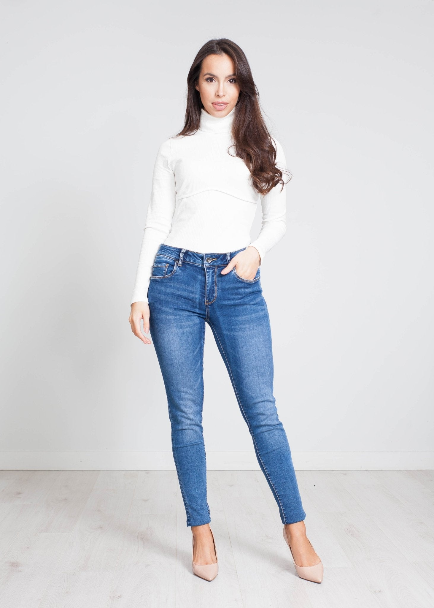Jordyn High Waist Skinny Jeans In Denim - The Walk in Wardrobe