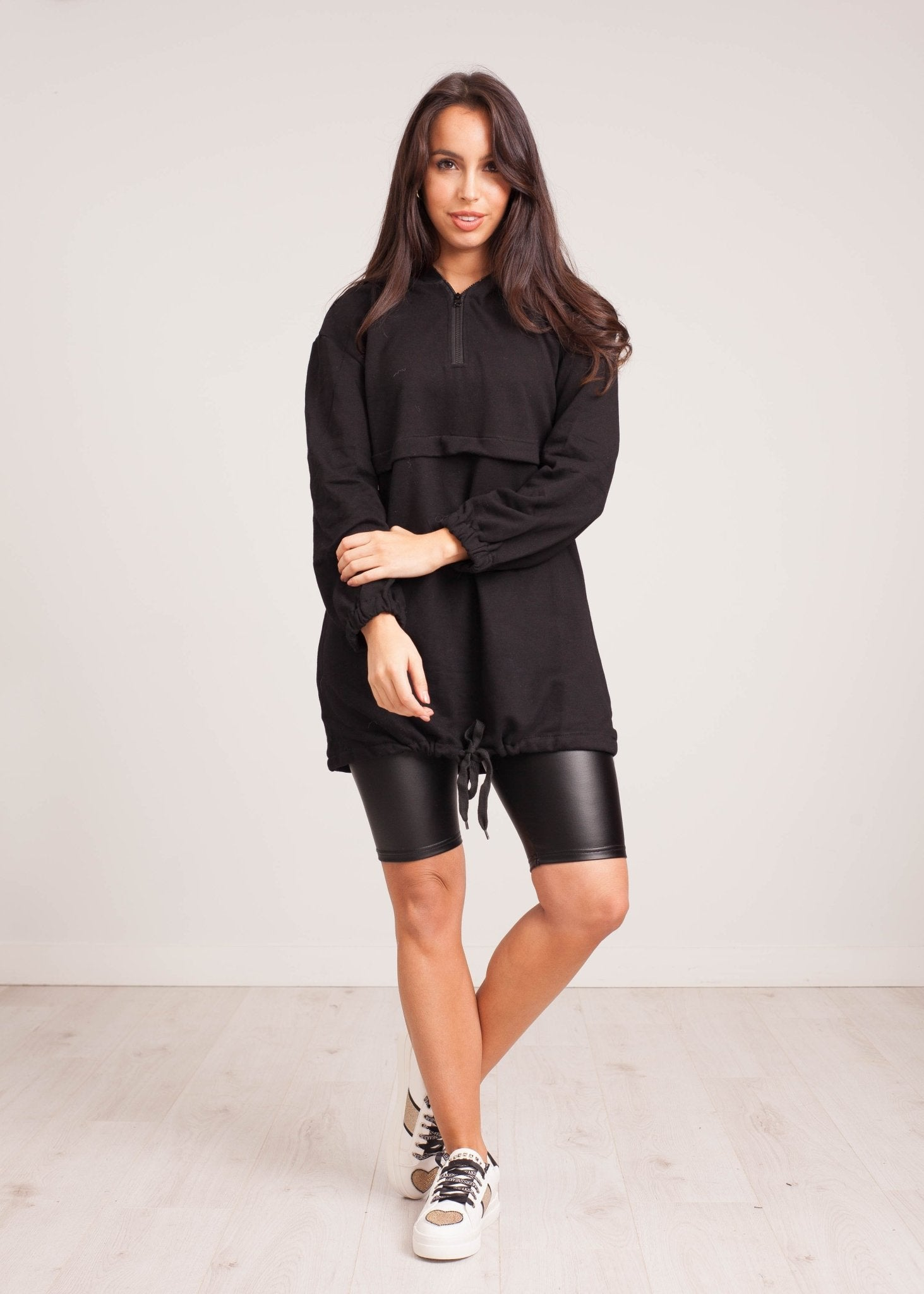 Kate Leather Look Bike Shorts in Black - The Walk in Wardrobe