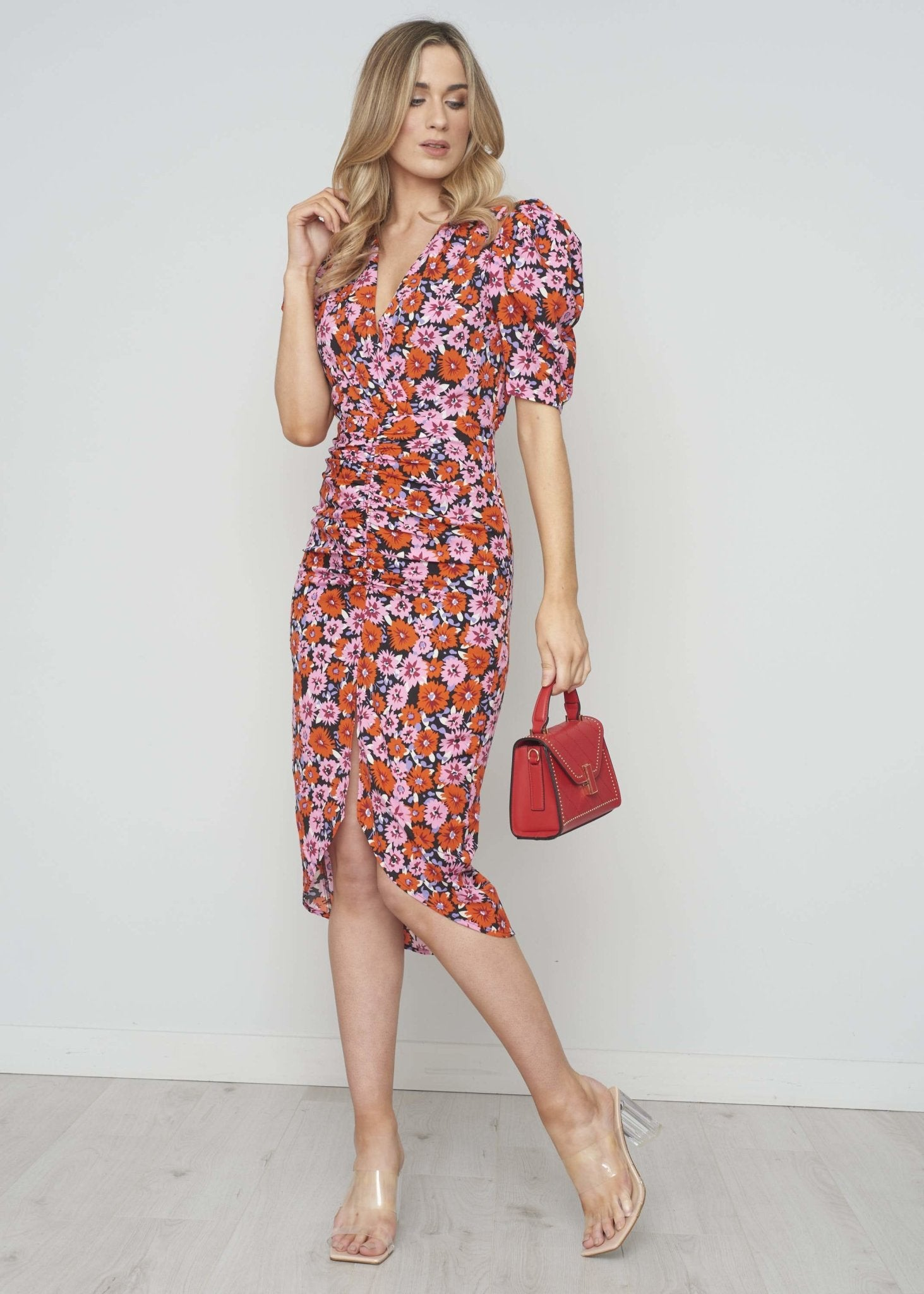 Kate Ruched Midi Dress In Red Floral - The Walk in Wardrobe
