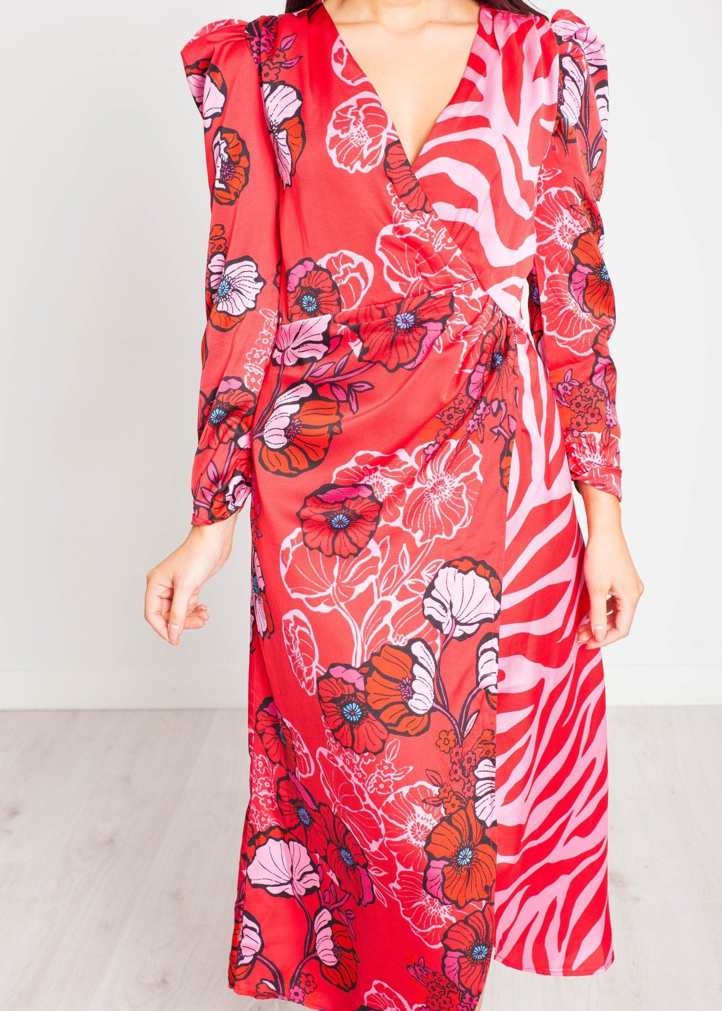 Lilly Midi Dress In Red Print - The Walk in Wardrobe