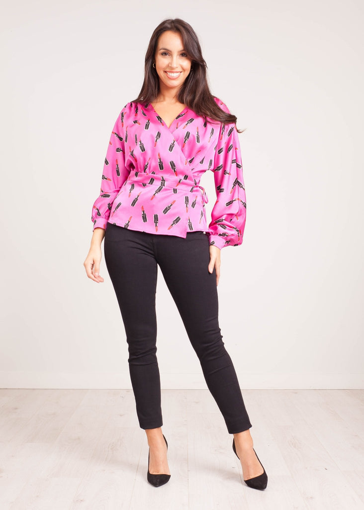 Lilly Wrap Blouse in Lipstick Print - The Walk in Wardrobe
