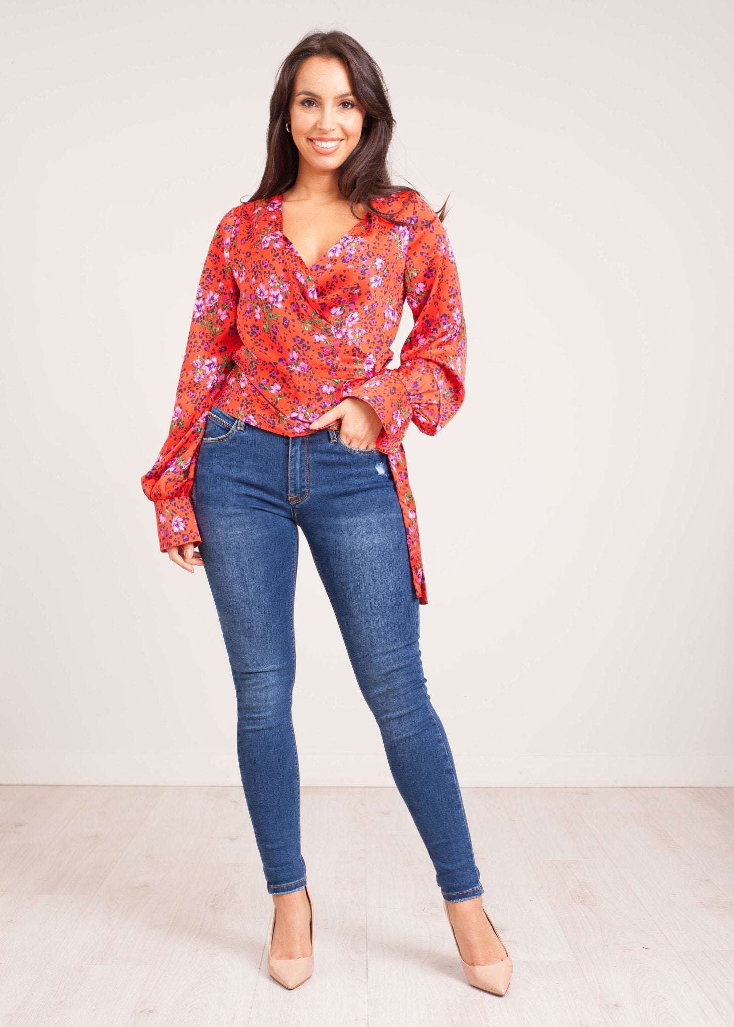 Lilly Wrap Blouse in Red Floral - The Walk in Wardrobe