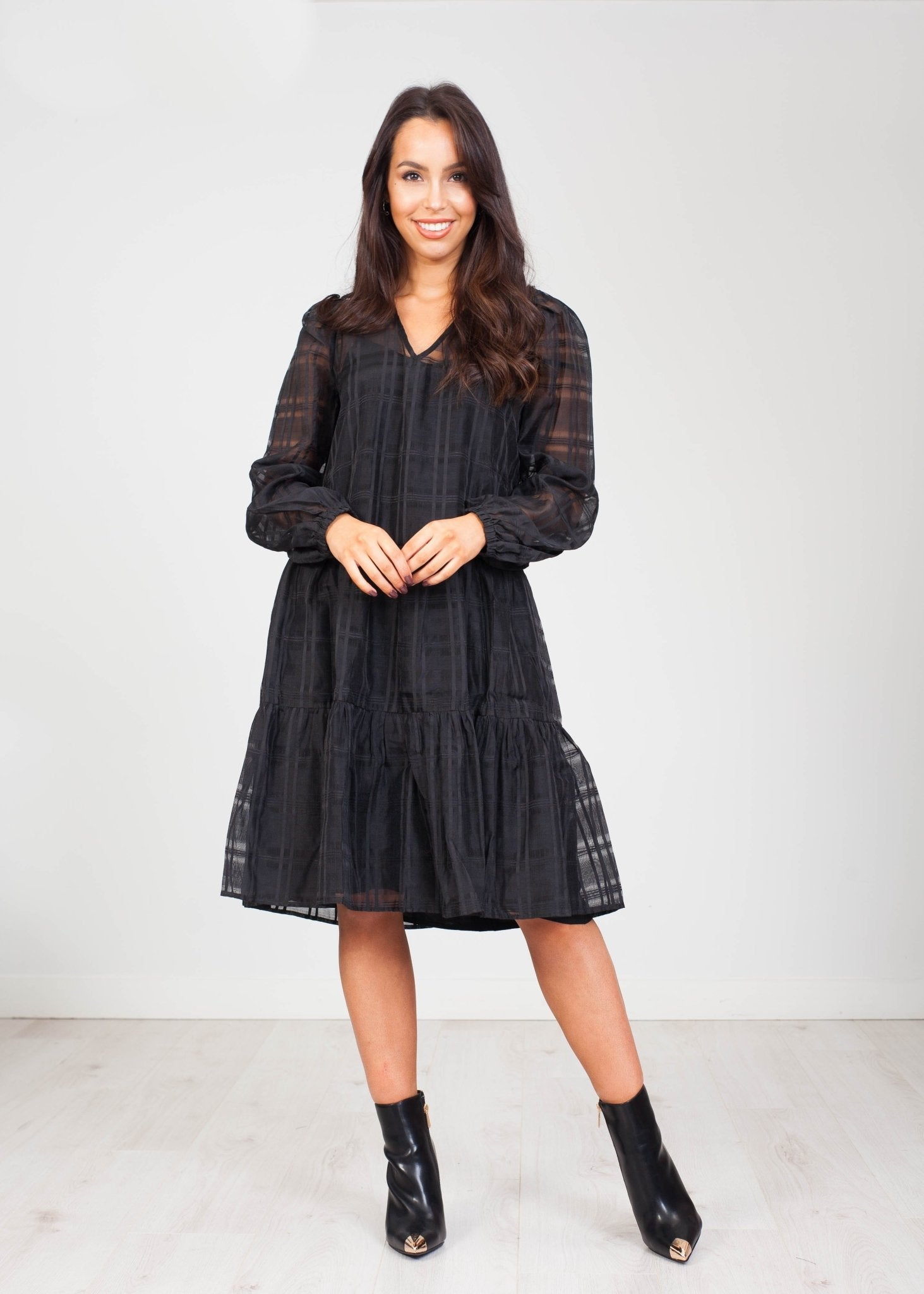 Lottie Tiered Dress in Black - The Walk in Wardrobe