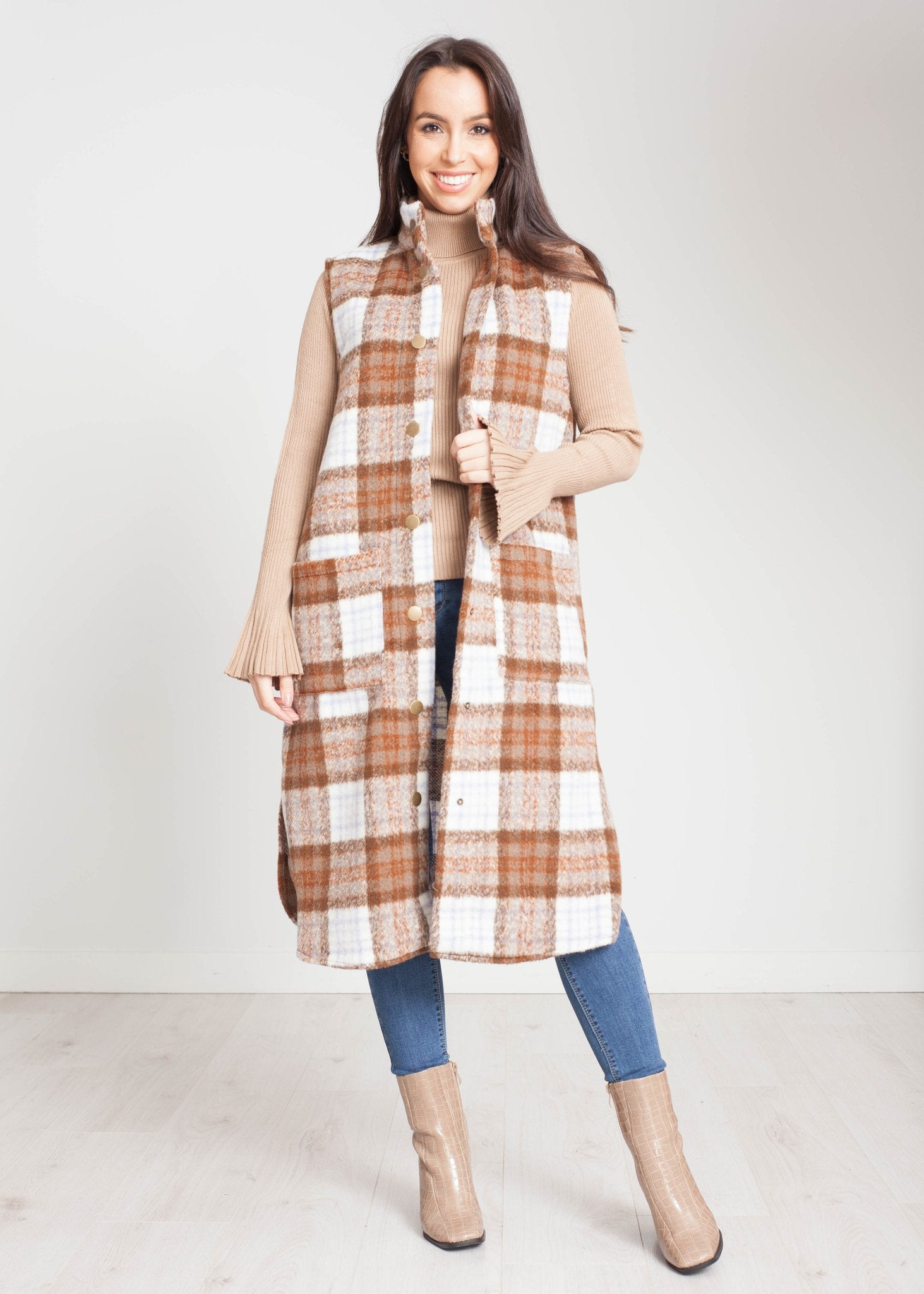 Lottie Waistcoat In Tan Check - The Walk in Wardrobe