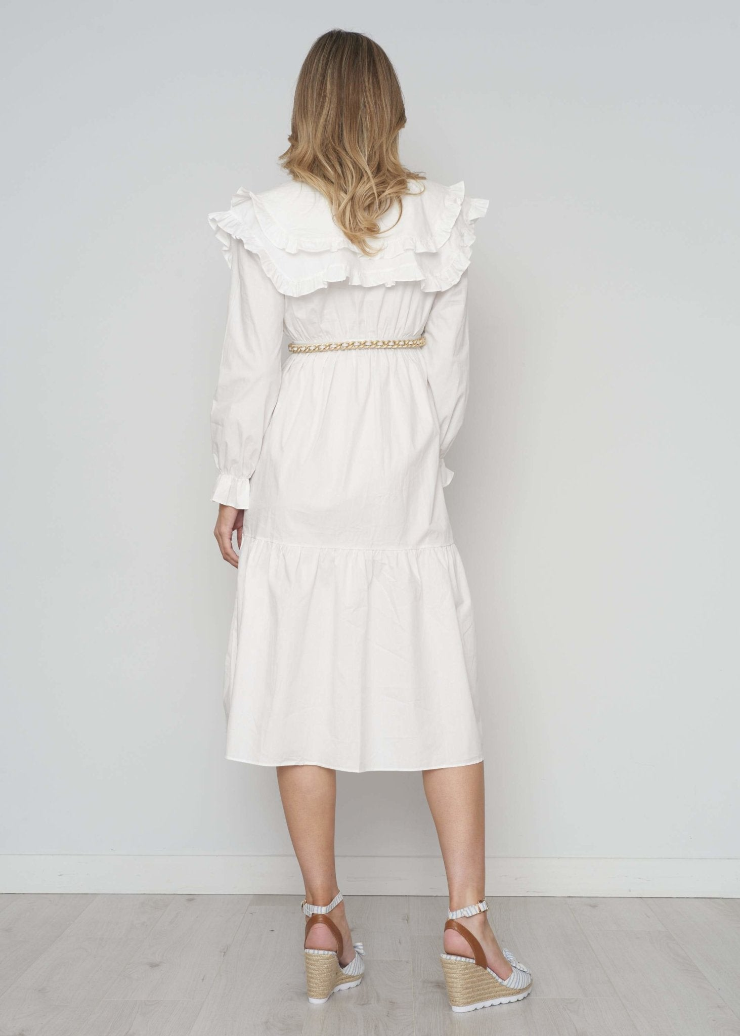 Lucia Double Collar Peplum Dress In White - The Walk in Wardrobe