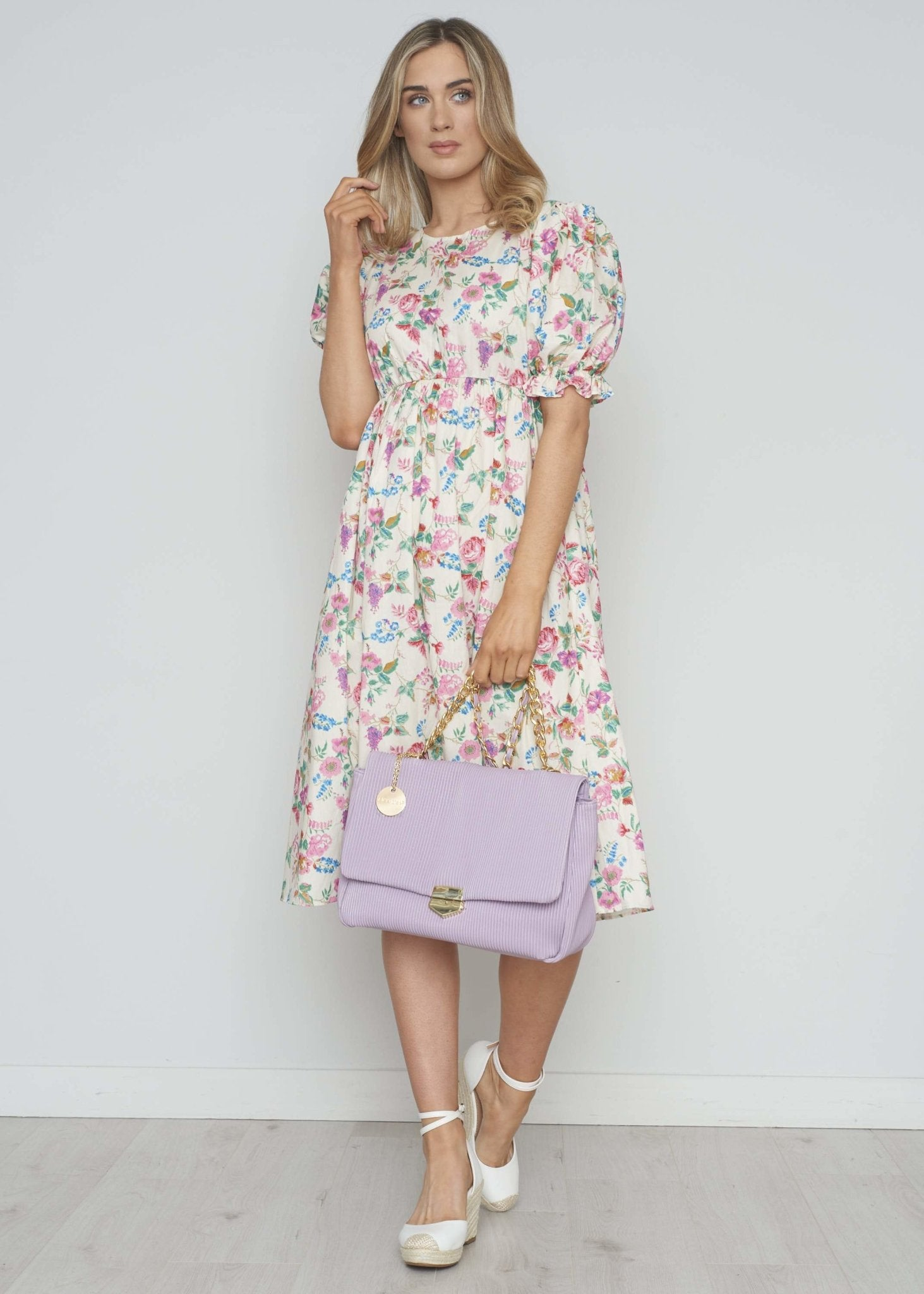 Lucia Floral Dress In Pink Mix - The Walk in Wardrobe