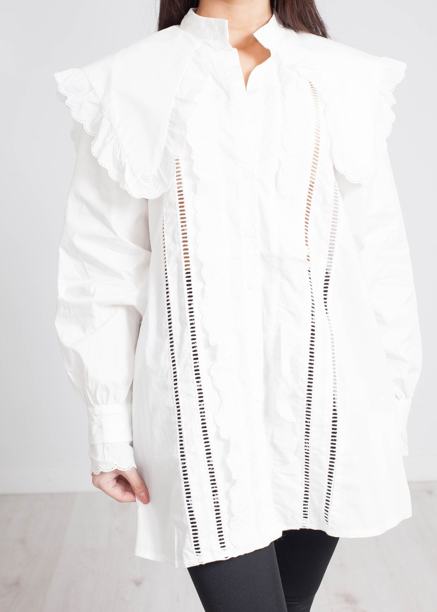 Lucia Frill Blouse In White - The Walk in Wardrobe