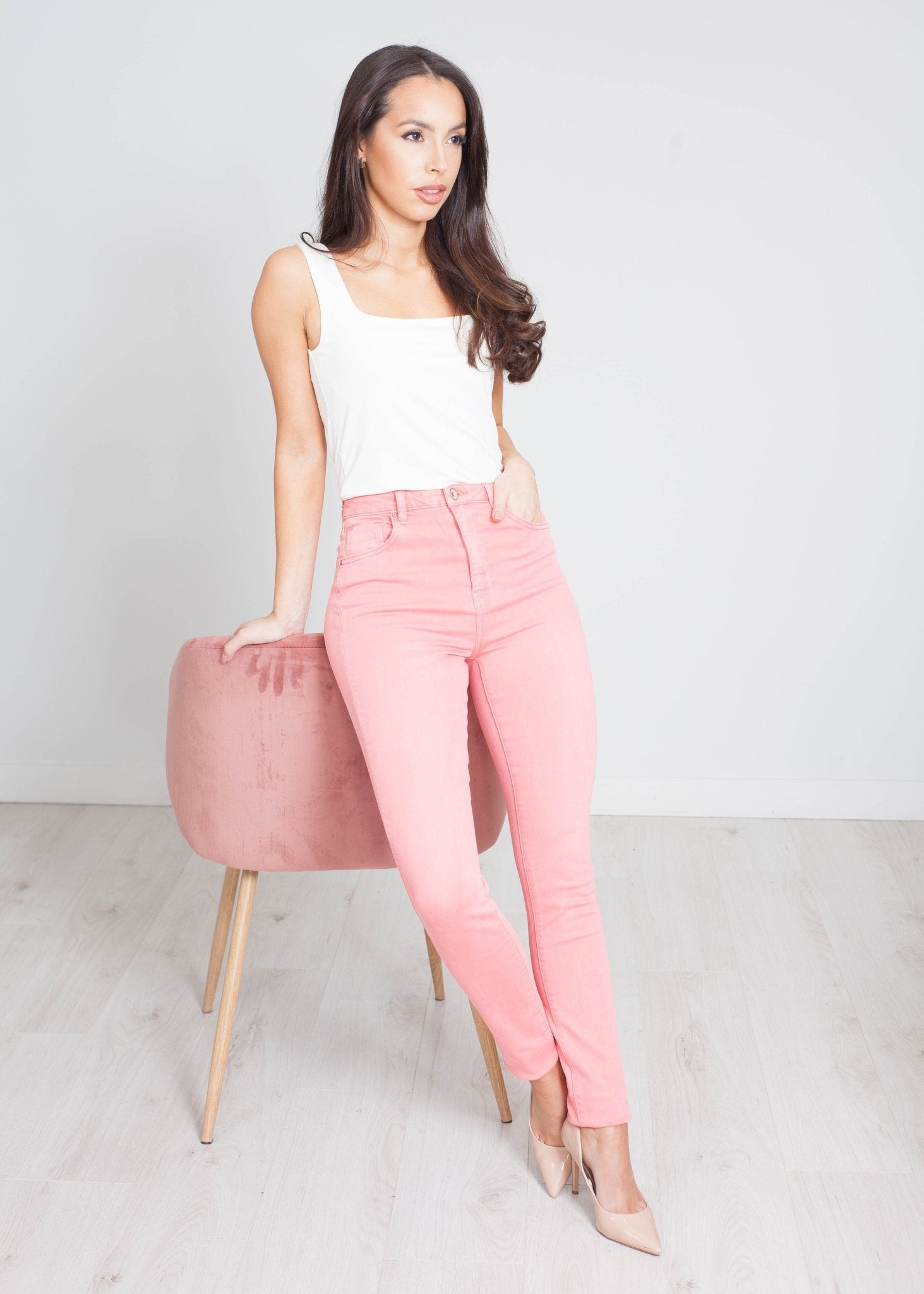 Lyla High Waist Skinny Jean In Coral - The Walk in Wardrobe