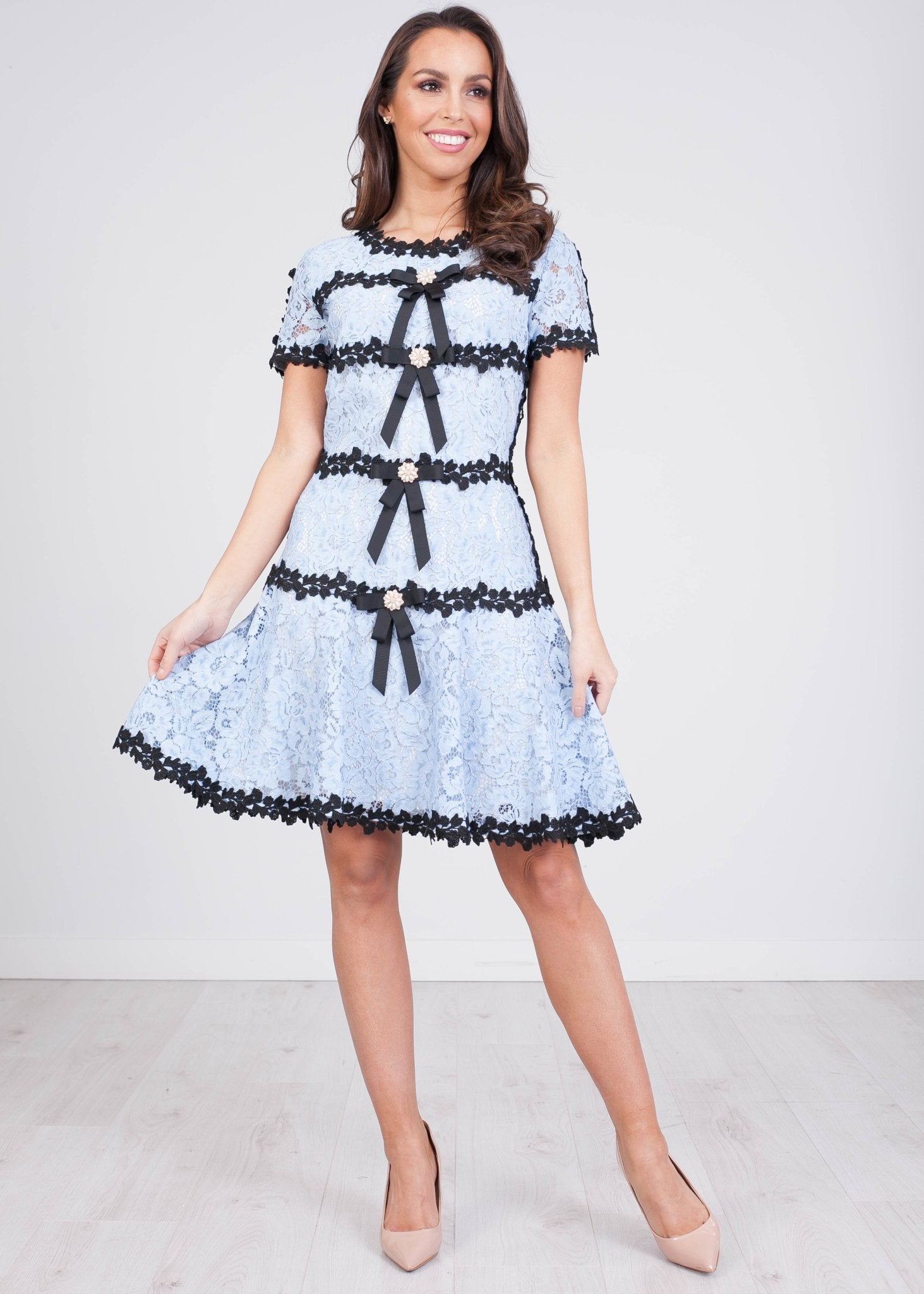 Marissa Blue & Black Lace Dress - The Walk in Wardrobe