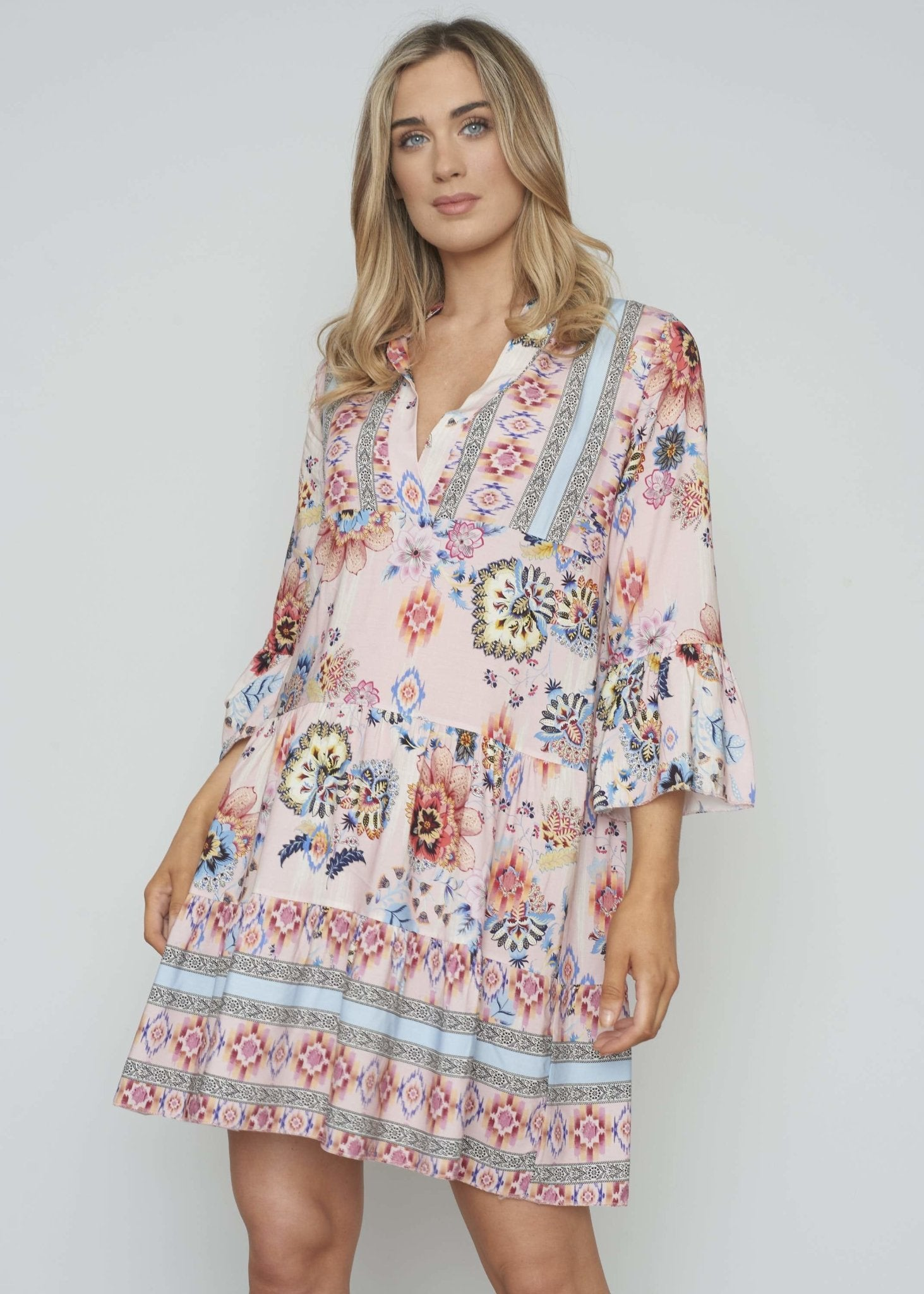 Marley Tiered Dress In Pink Mix - The Walk in Wardrobe