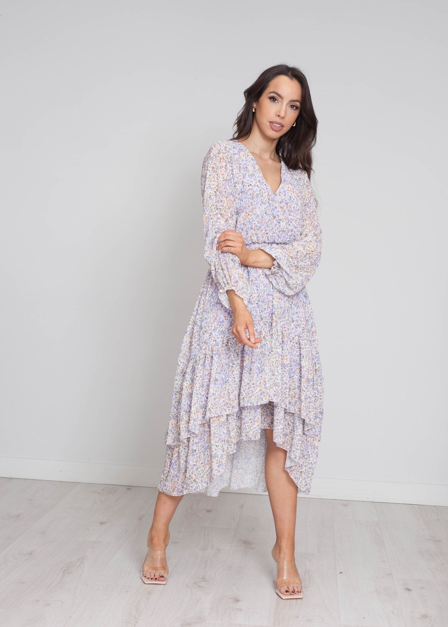 Marley Tiered Frill Dress In Lilac Floral - The Walk in Wardrobe