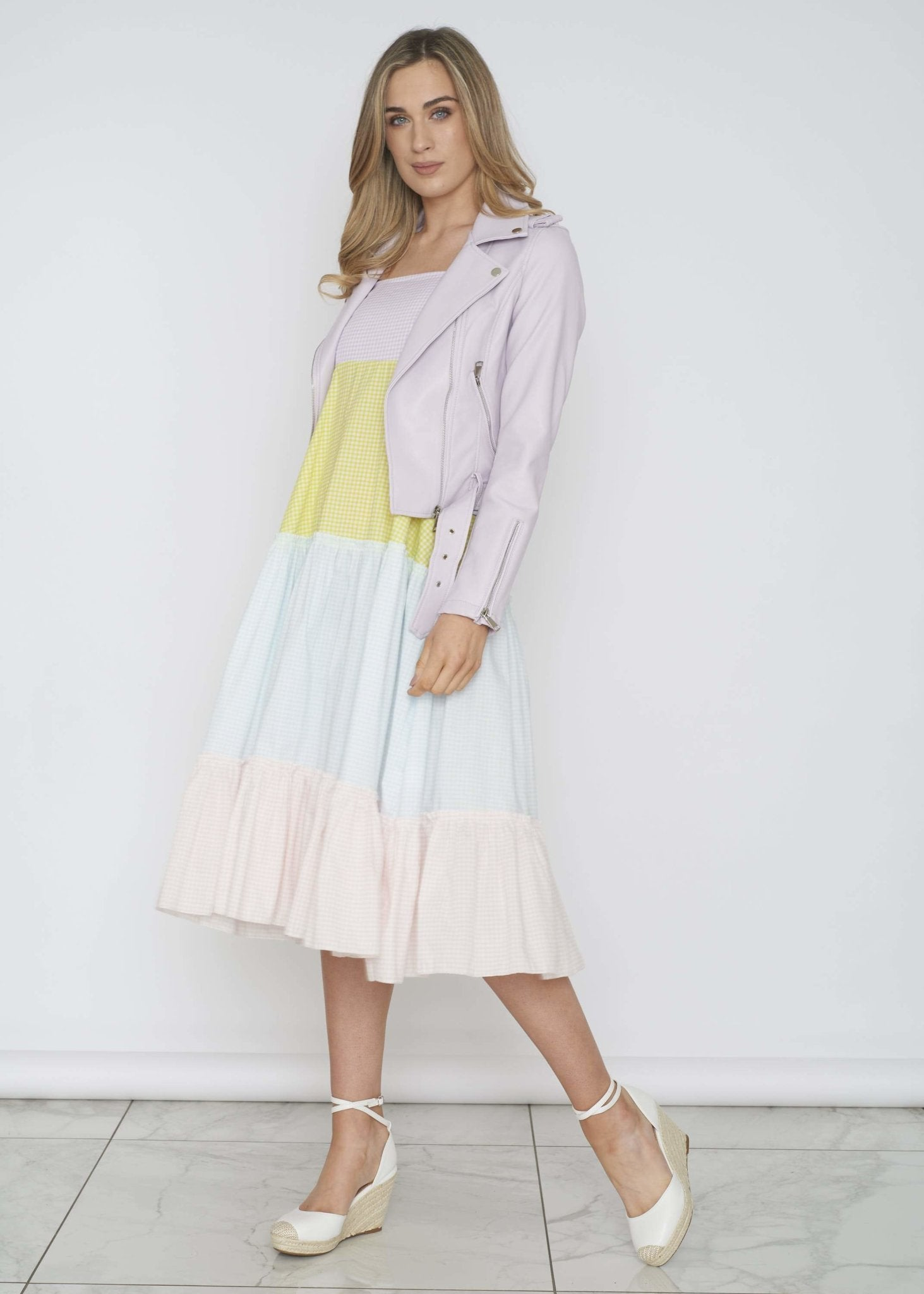Marley Tiered Gingham Dress In Multi - The Walk in Wardrobe