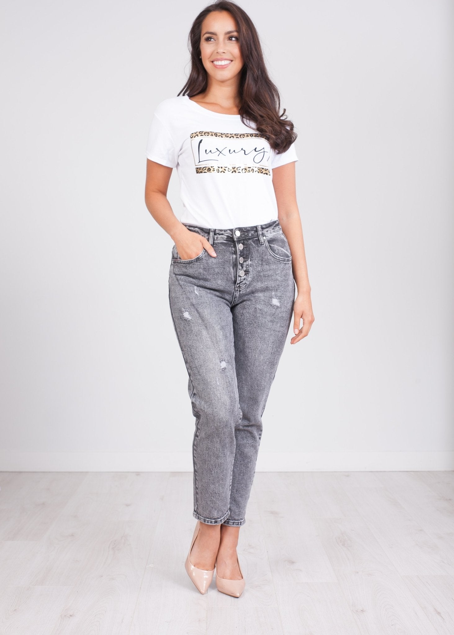'Michelle' Black Wash Jeans - The Walk in Wardrobe