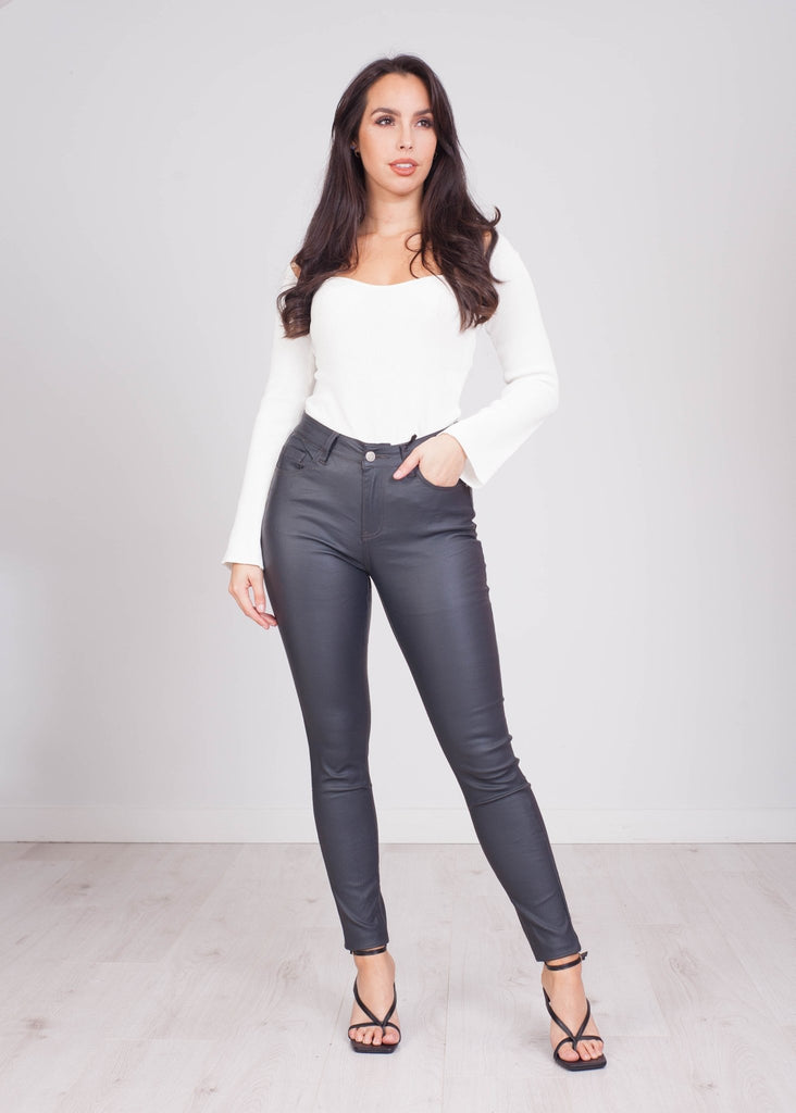 Millie Grey Leather Look Jean - The Walk in Wardrobe
