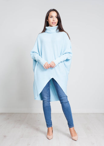 Nora Batwing Jumper Dress In Blue - The Walk in Wardrobe