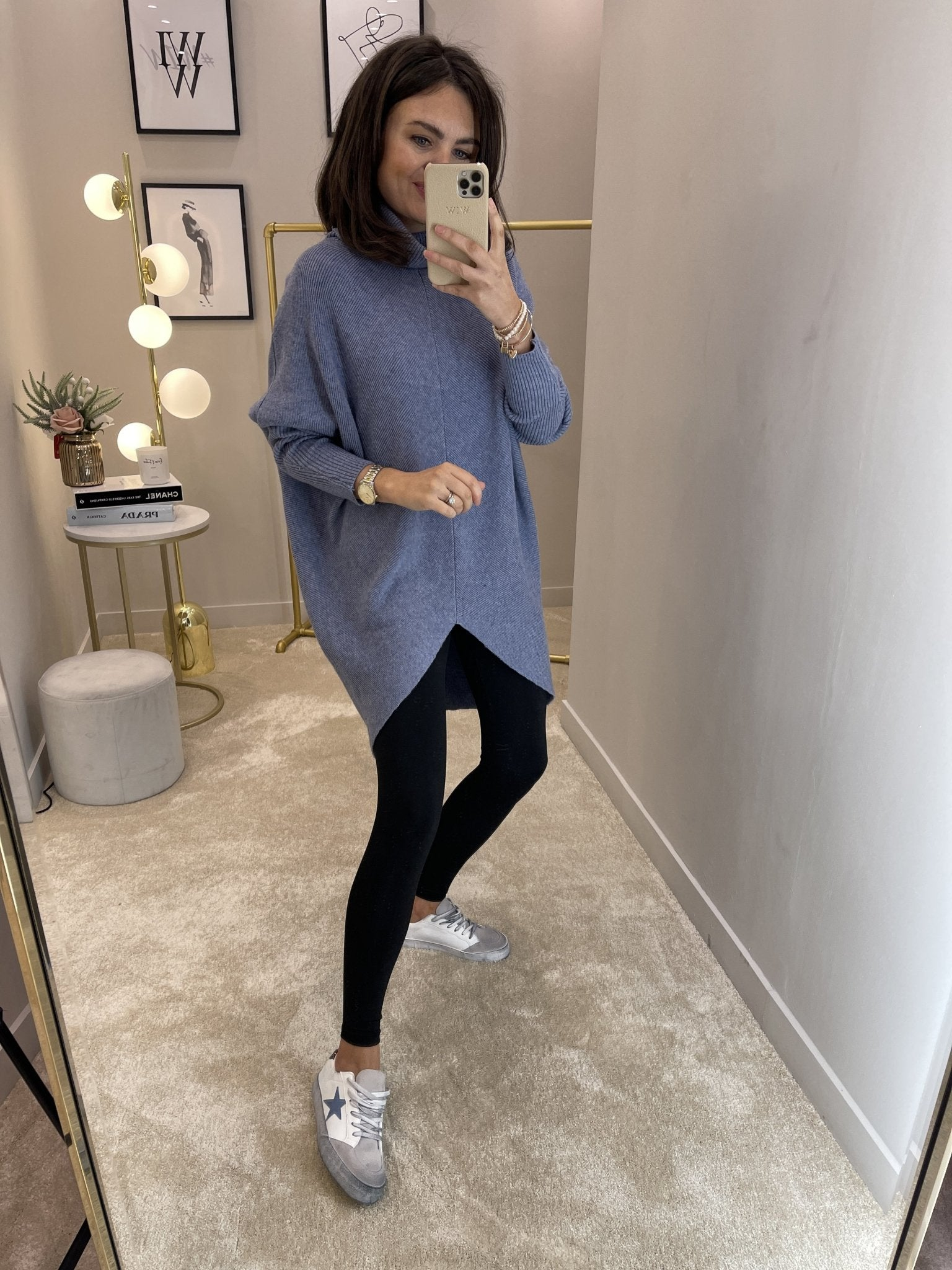 Nora Batwing Jumper Dress In Denim - The Walk in Wardrobe