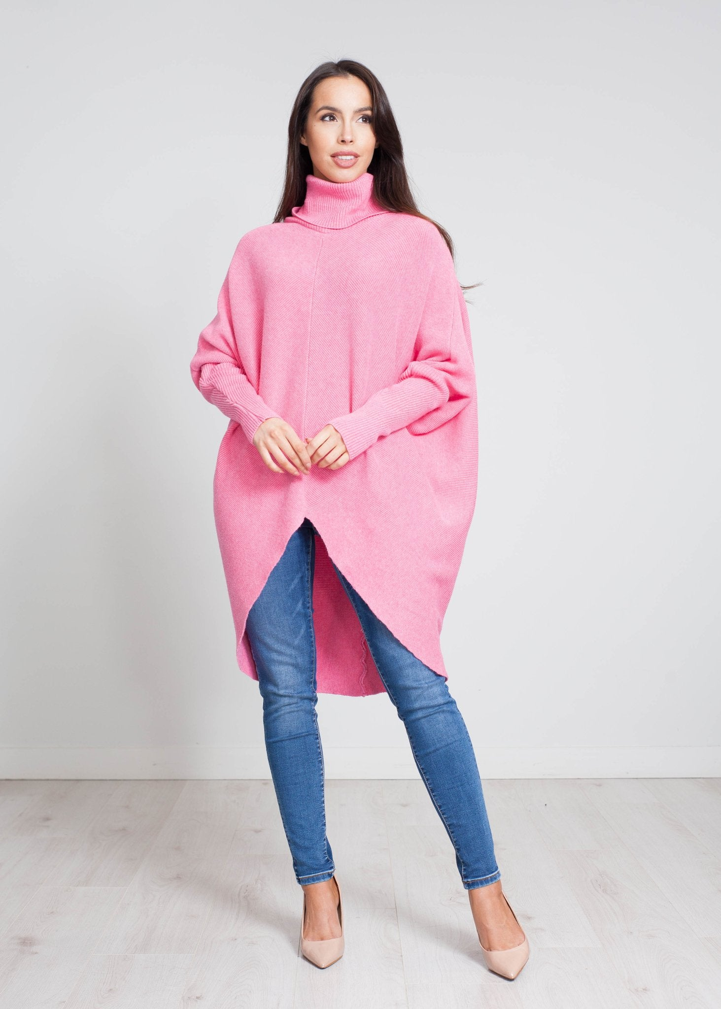 Nora Batwing Jumper Dress In Pink - The Walk in Wardrobe