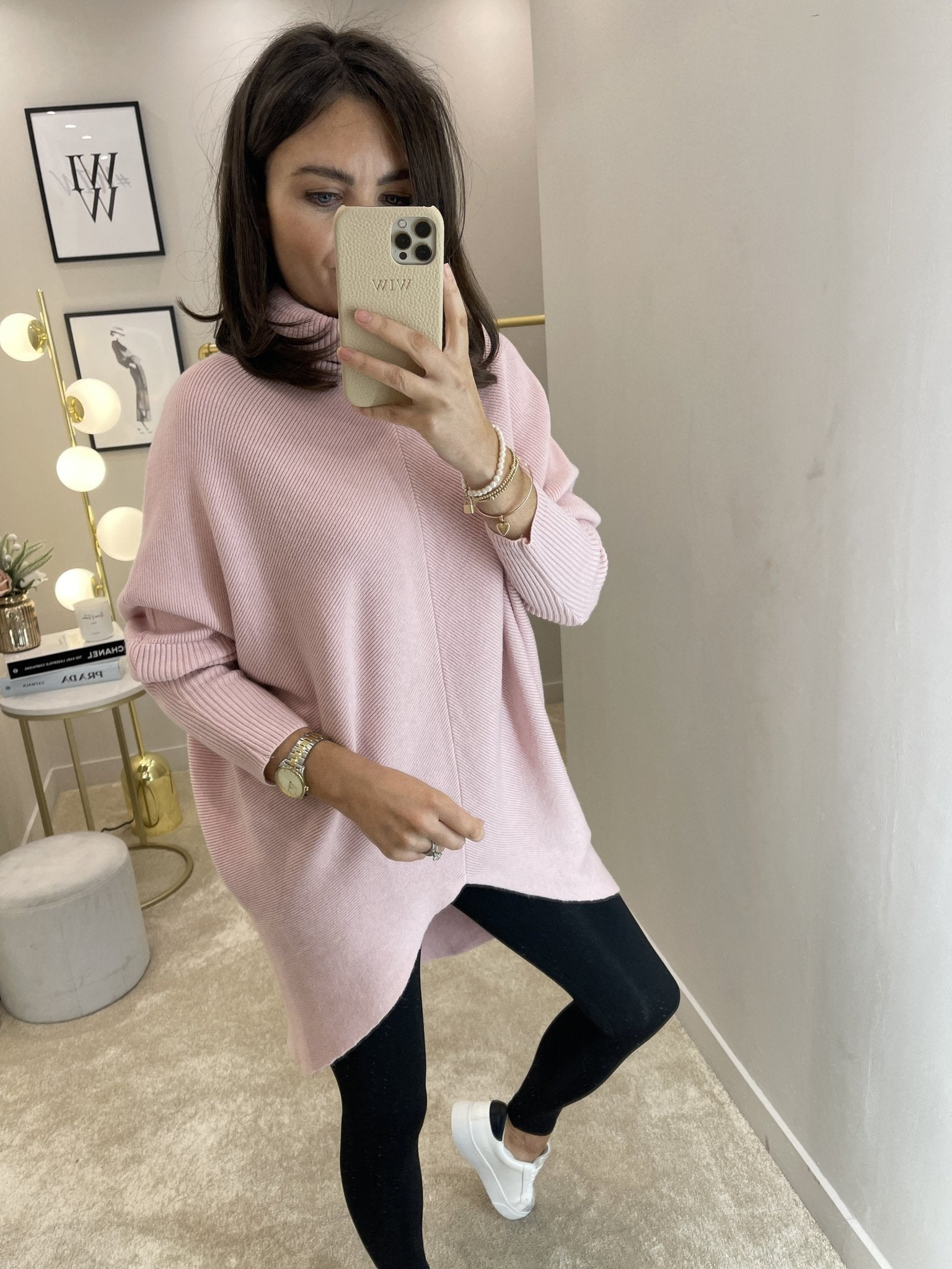 Nora Batwing Jumper Dress In Soft Pink - The Walk in Wardrobe