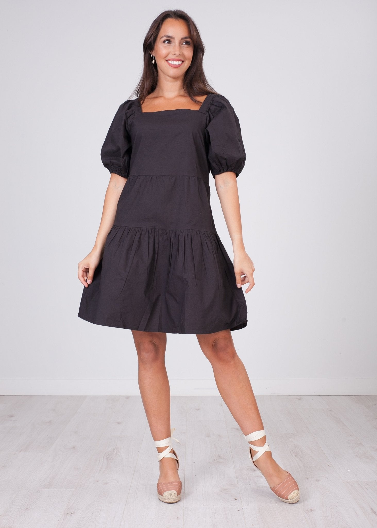 Nora Black Tiered Dress - The Walk in Wardrobe