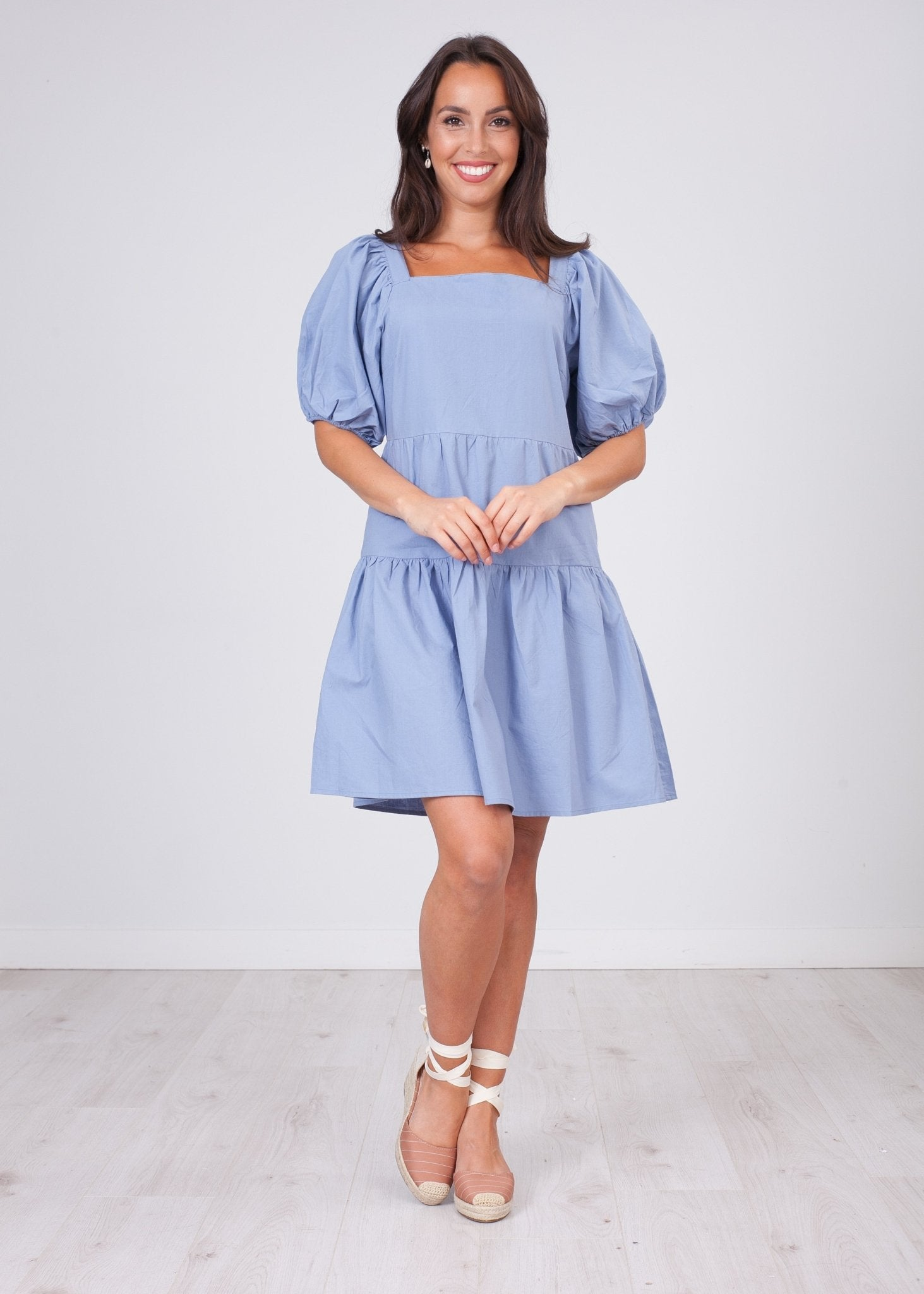 Nora Blue Tiered Dress - The Walk in Wardrobe