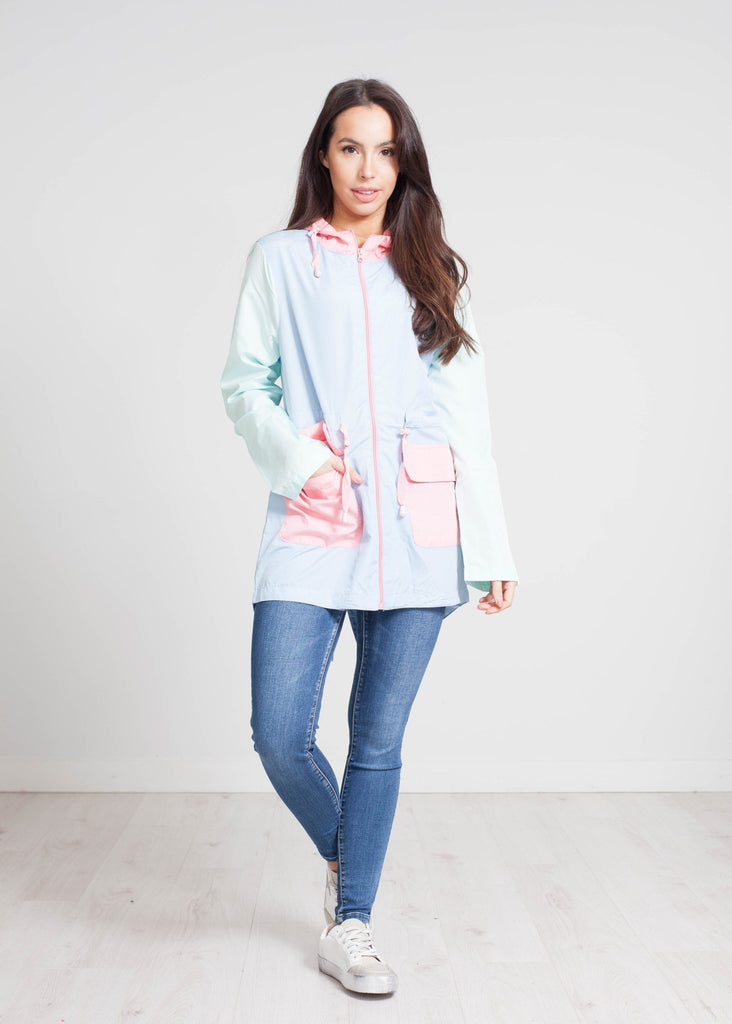 Nora Colour Block Raincoat In Blue Mix - The Walk in Wardrobe