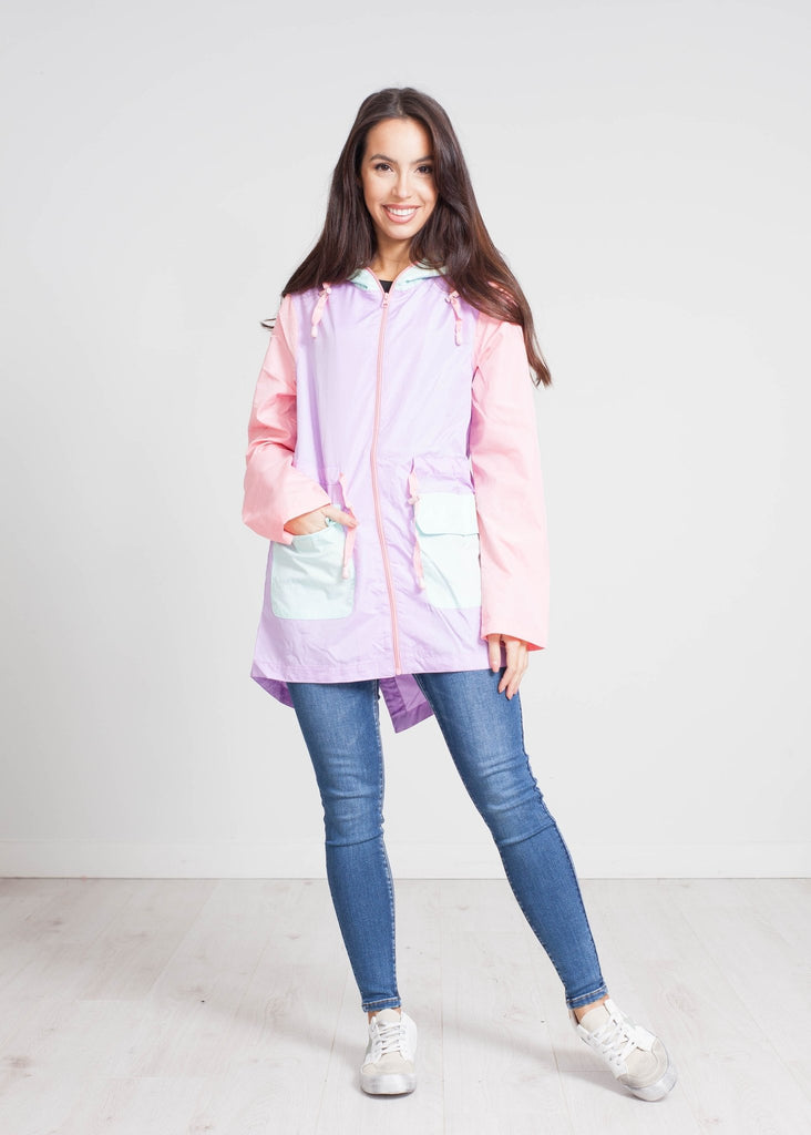 Nora Colour Block Raincoat In Purple Mix - The Walk in Wardrobe