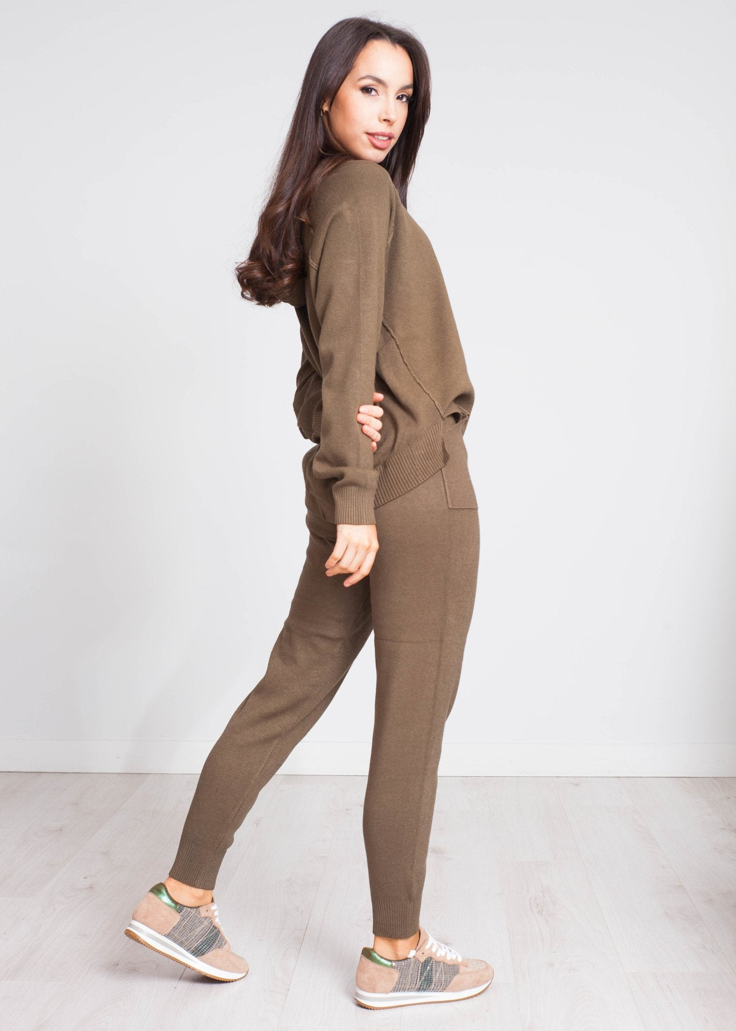 Nora Knit Lounge Set In Khaki - The Walk in Wardrobe