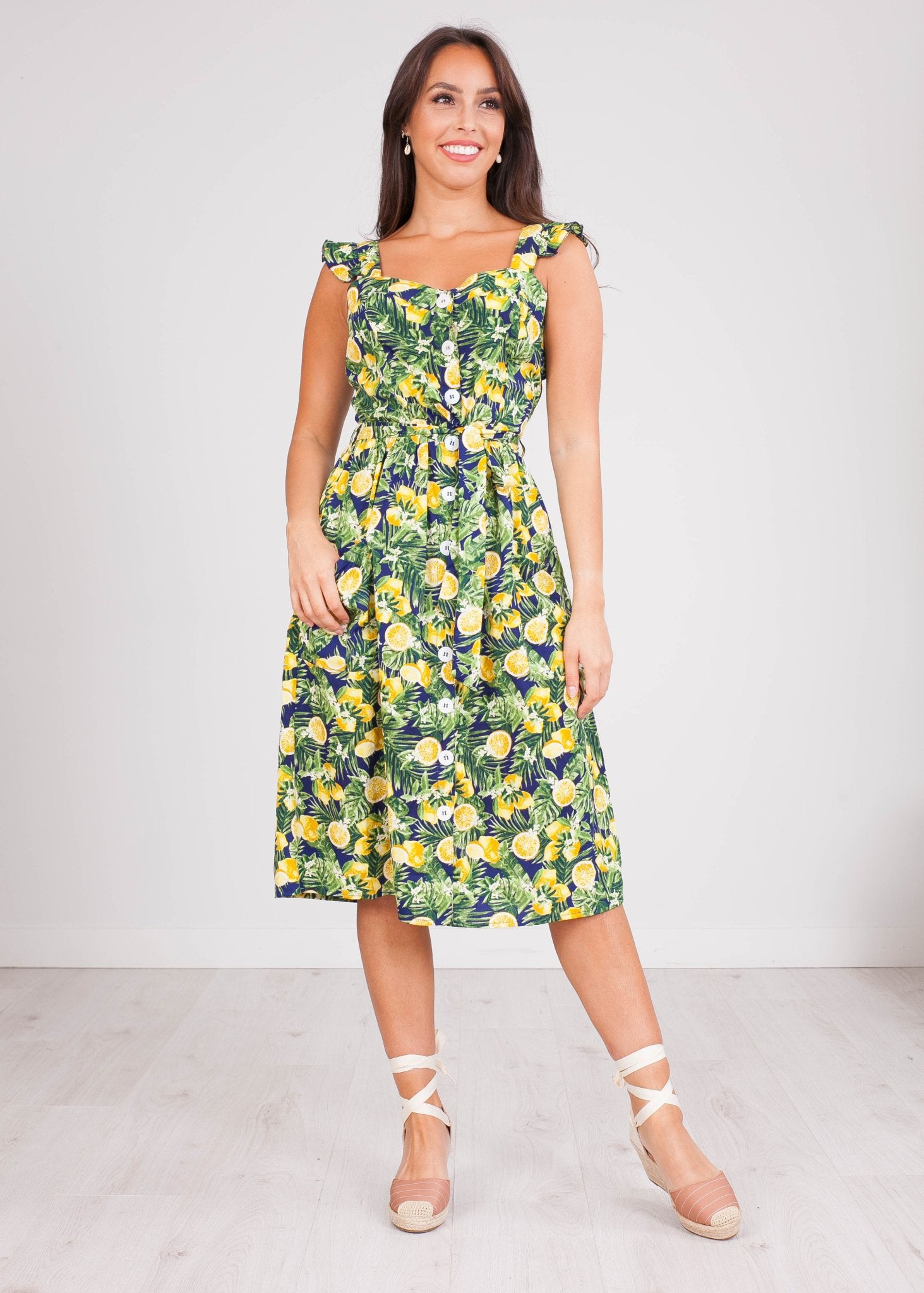 Nora Lemon Midi Dress - The Walk in Wardrobe