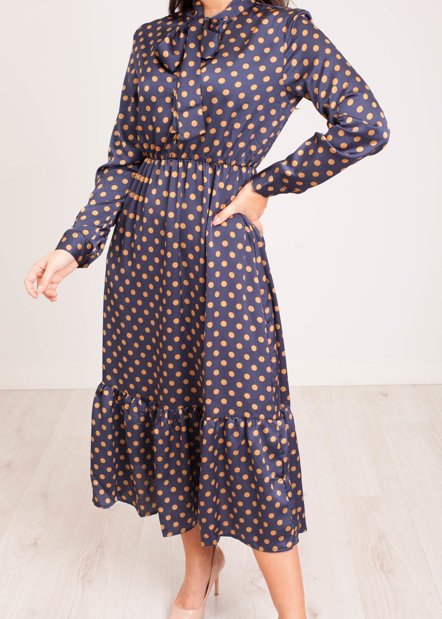 Nora Midi Dress in Navy Polka Dot - The Walk in Wardrobe