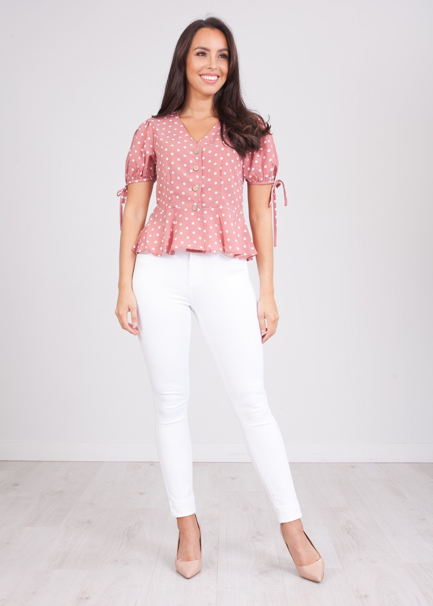 Nora Pink Polka Dot Top - The Walk in Wardrobe