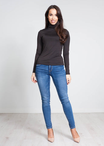 Nora Polo Neck Top In Black - The Walk in Wardrobe