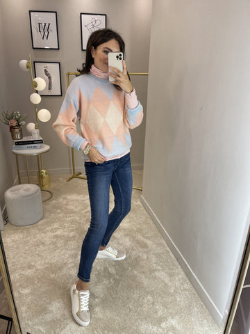 Nora Polo Neck Top In Blush - The Walk in Wardrobe