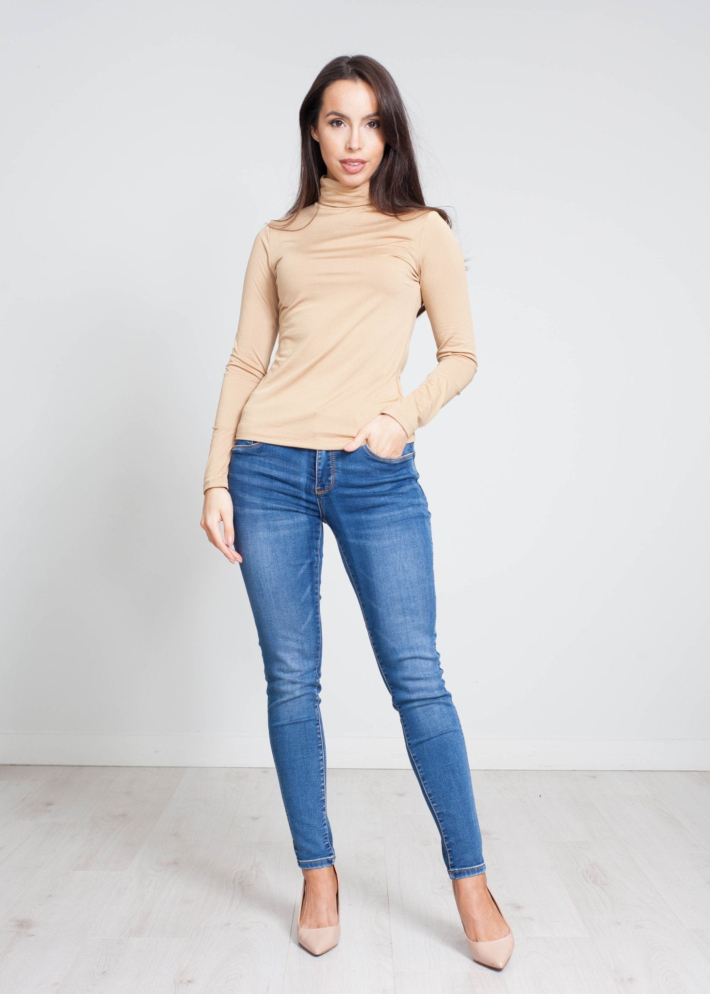 Nora Polo Neck Top In Camel - The Walk in Wardrobe