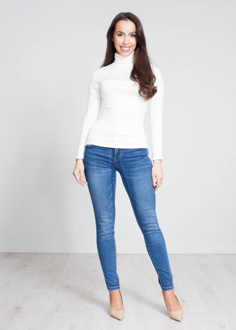 Nora Polo Neck Top In Cream - The Walk in Wardrobe