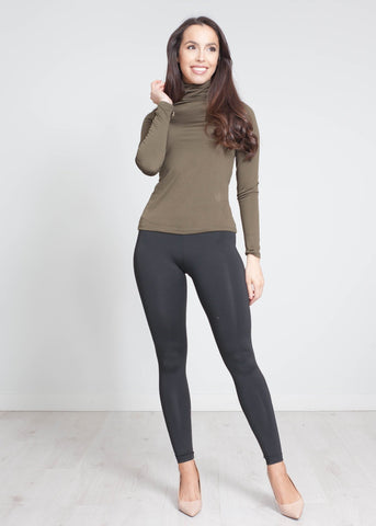 Nora Polo Neck Top In Olive - The Walk in Wardrobe