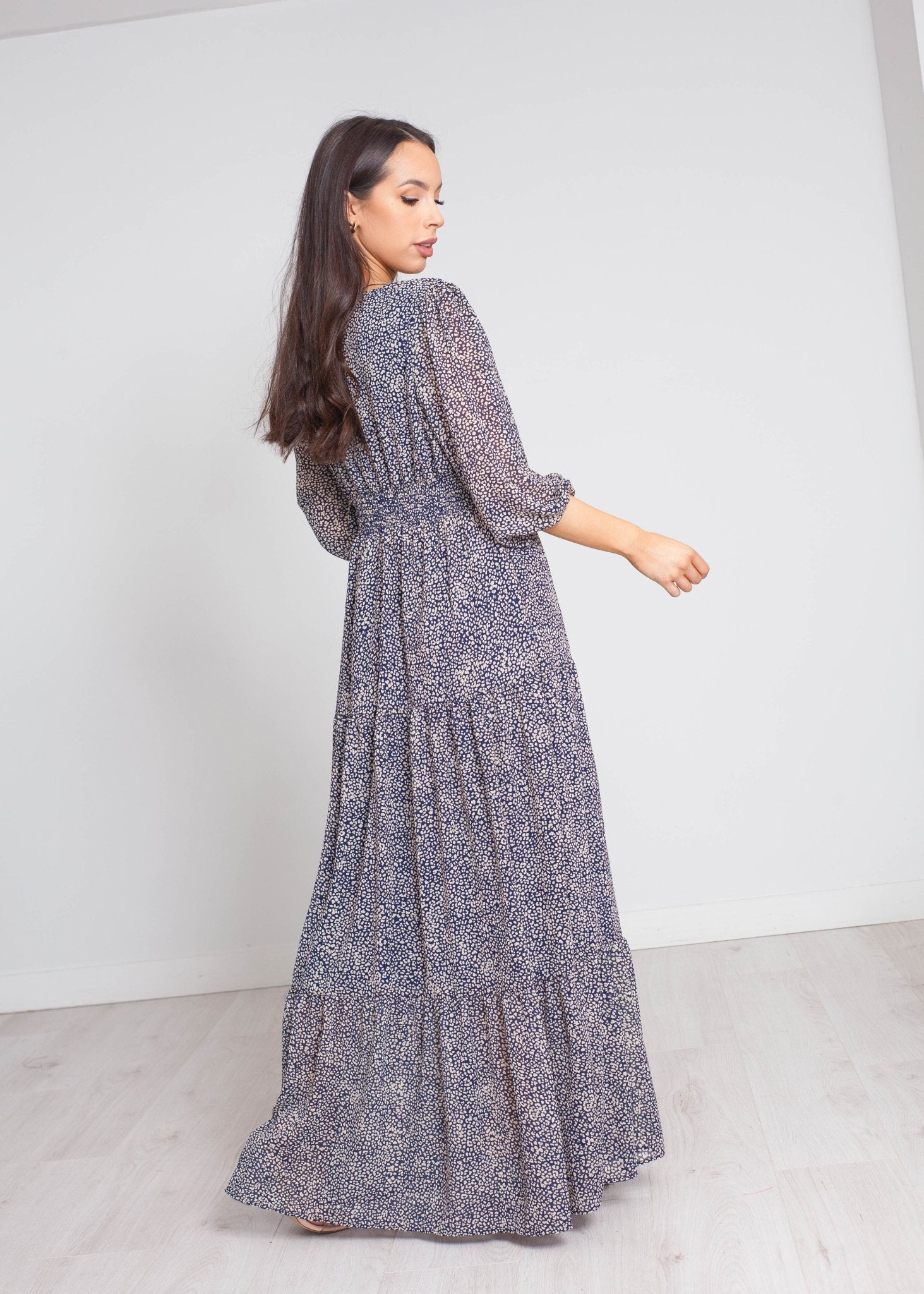 Nora Printed Maxi Dress In Navy - The Walk in Wardrobe