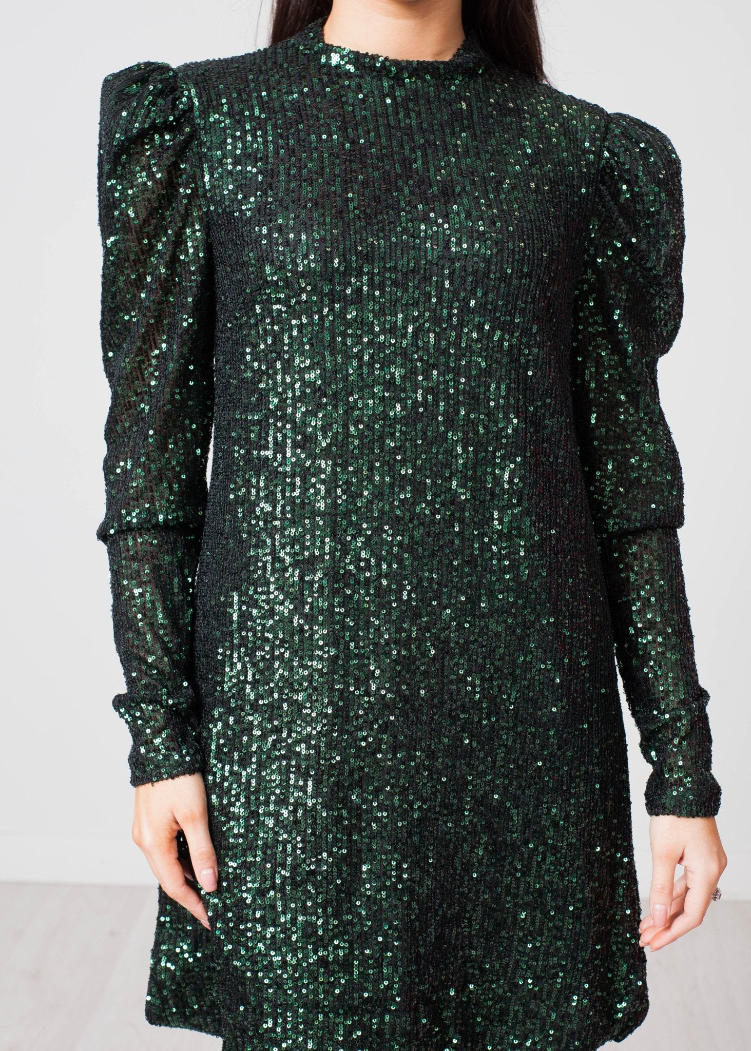 Nora Sequin Mini Dress In Green - The Walk in Wardrobe