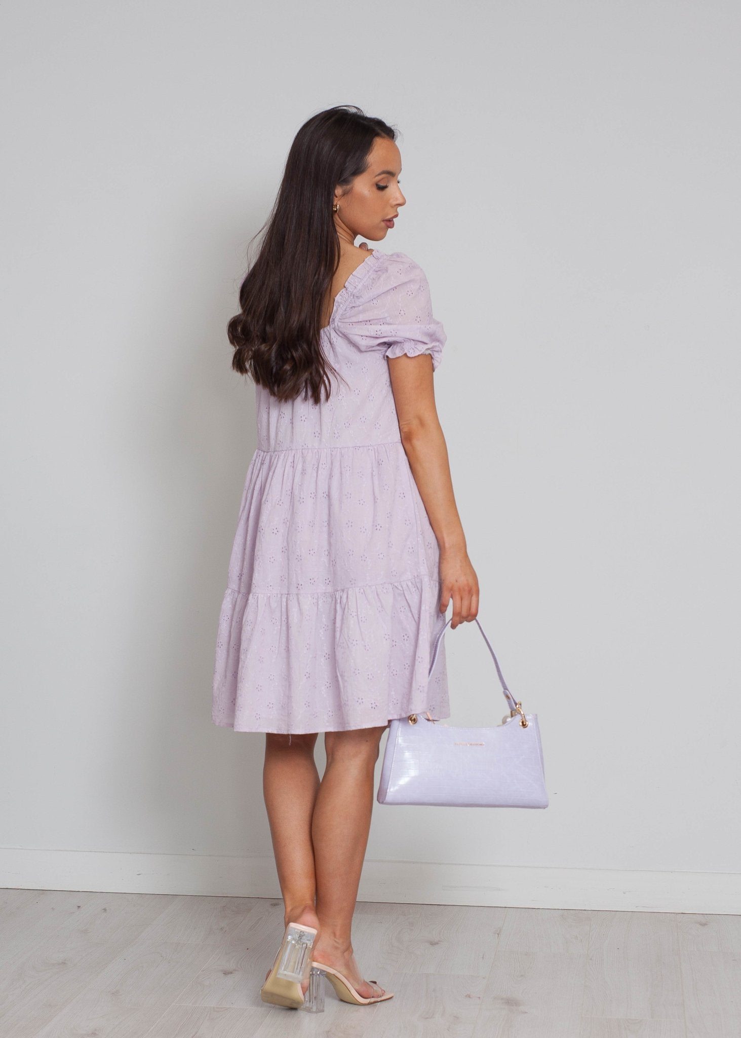 Nora Tiered Smock Dress In Lilac - The Walk in Wardrobe