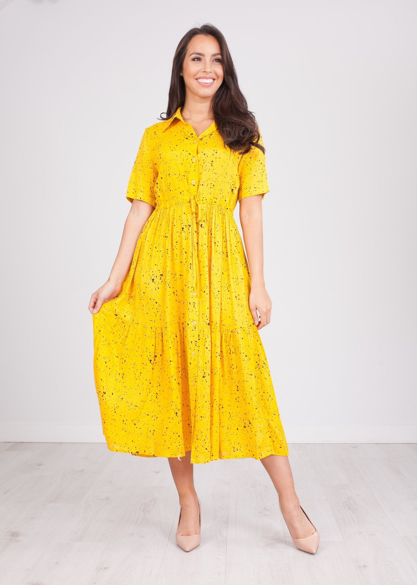 Nora Yellow Button Front Midi - The Walk in Wardrobe
