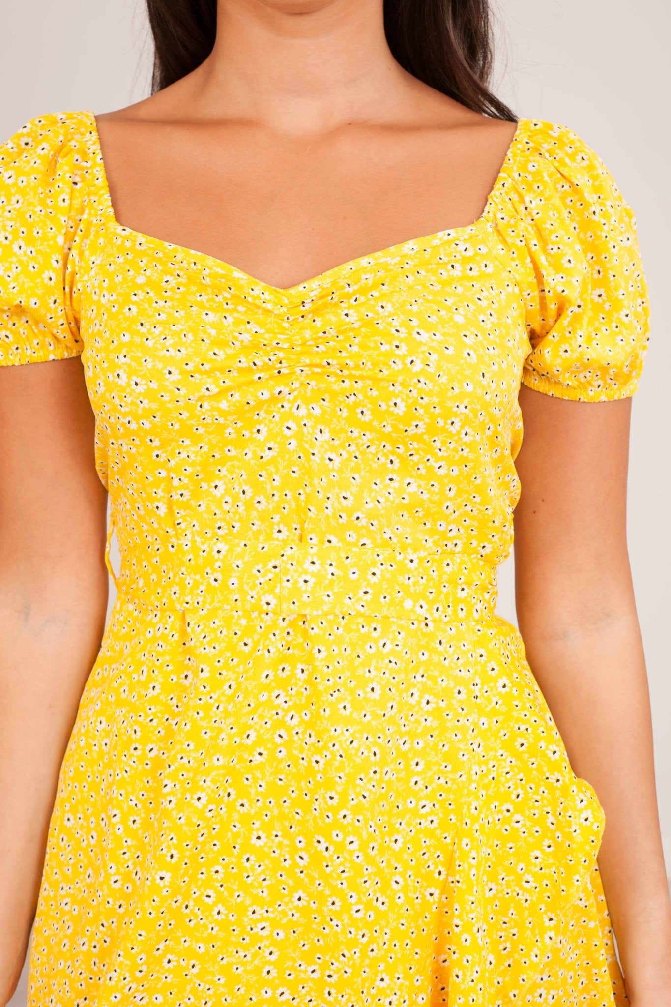 Nora Yellow Floral Dress - The Walk in Wardrobe