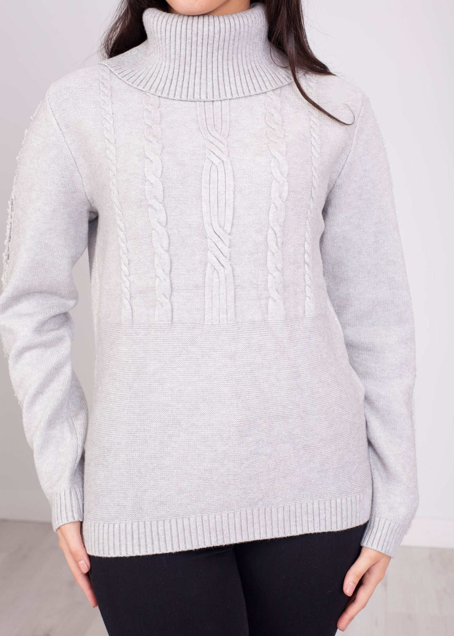 Penny Cable Polo Neck In Grey - The Walk in Wardrobe