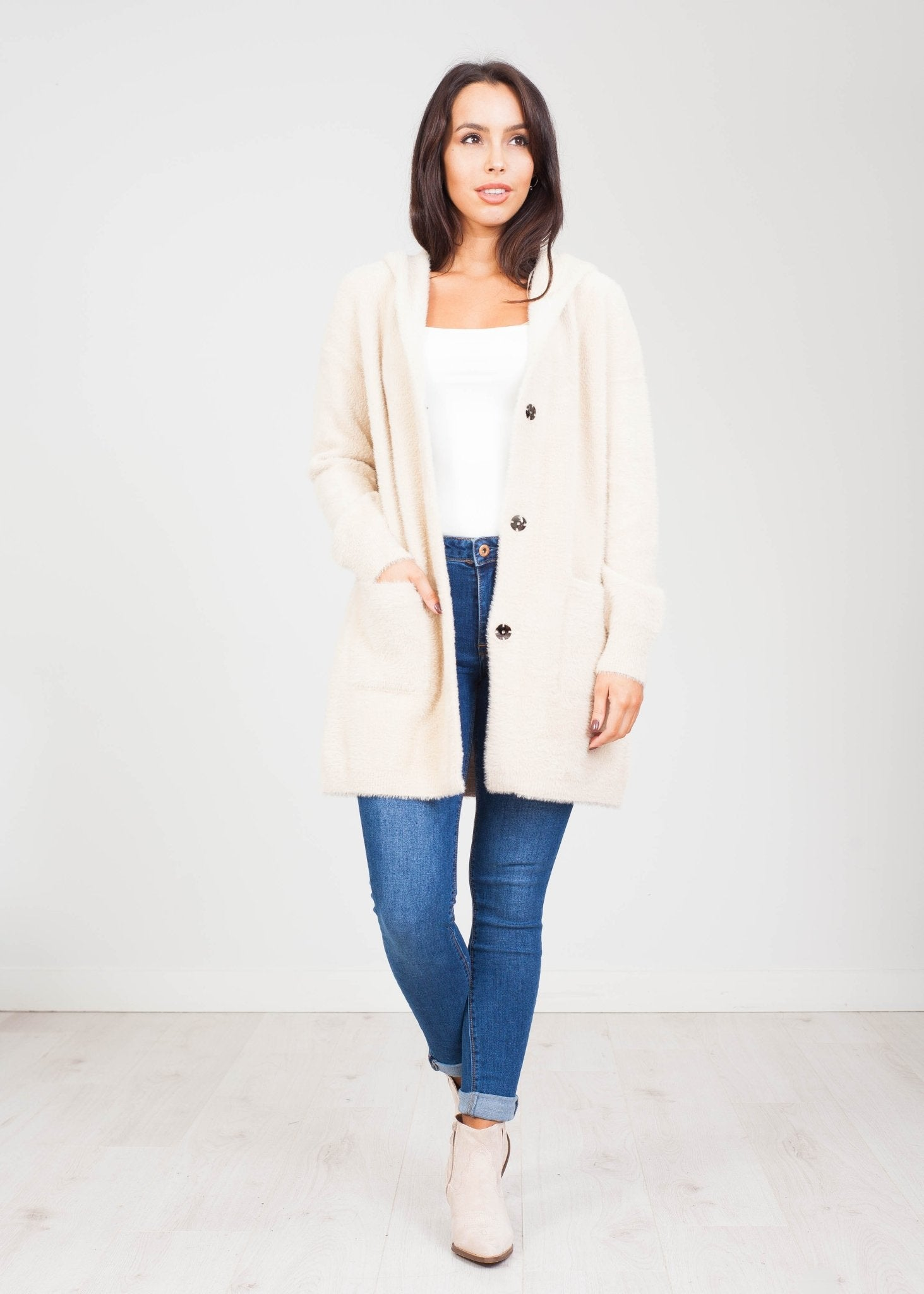 Penny Cardigan With Hood In Beige - The Walk in Wardrobe