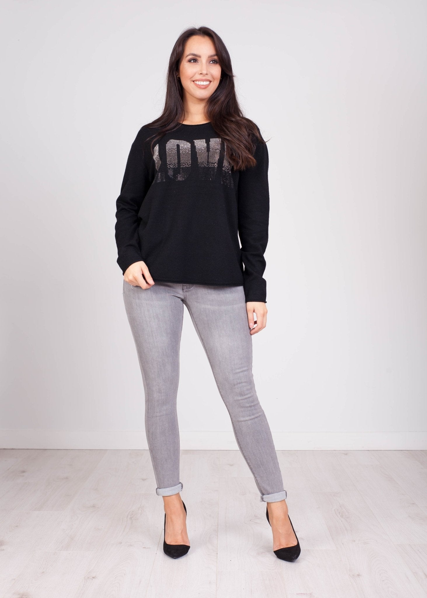Penny Embellished Jumper In Black - The Walk in Wardrobe