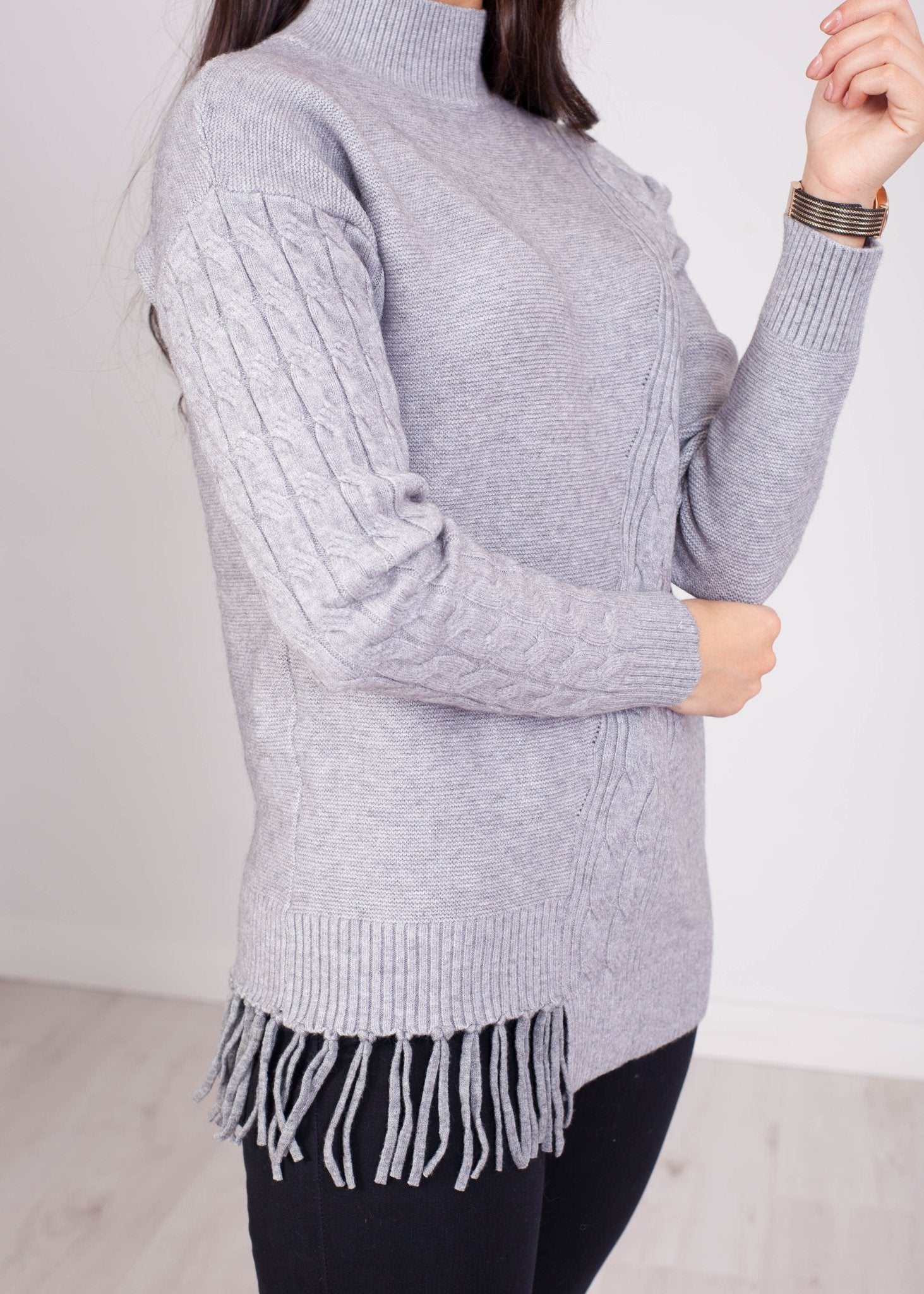 Penny Fringed Jumper In Grey - The Walk in Wardrobe