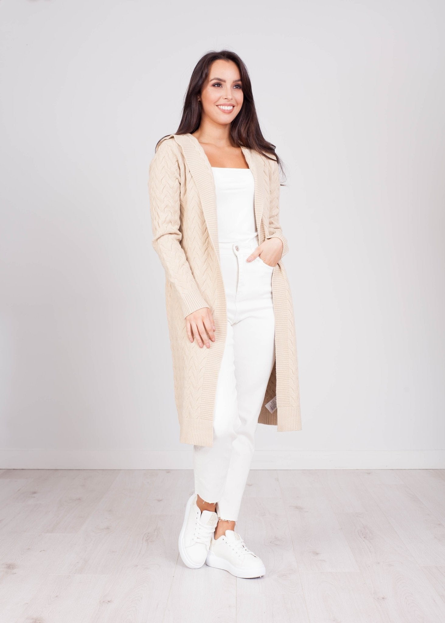 Penny Hooded Cardigan In Stone - The Walk in Wardrobe